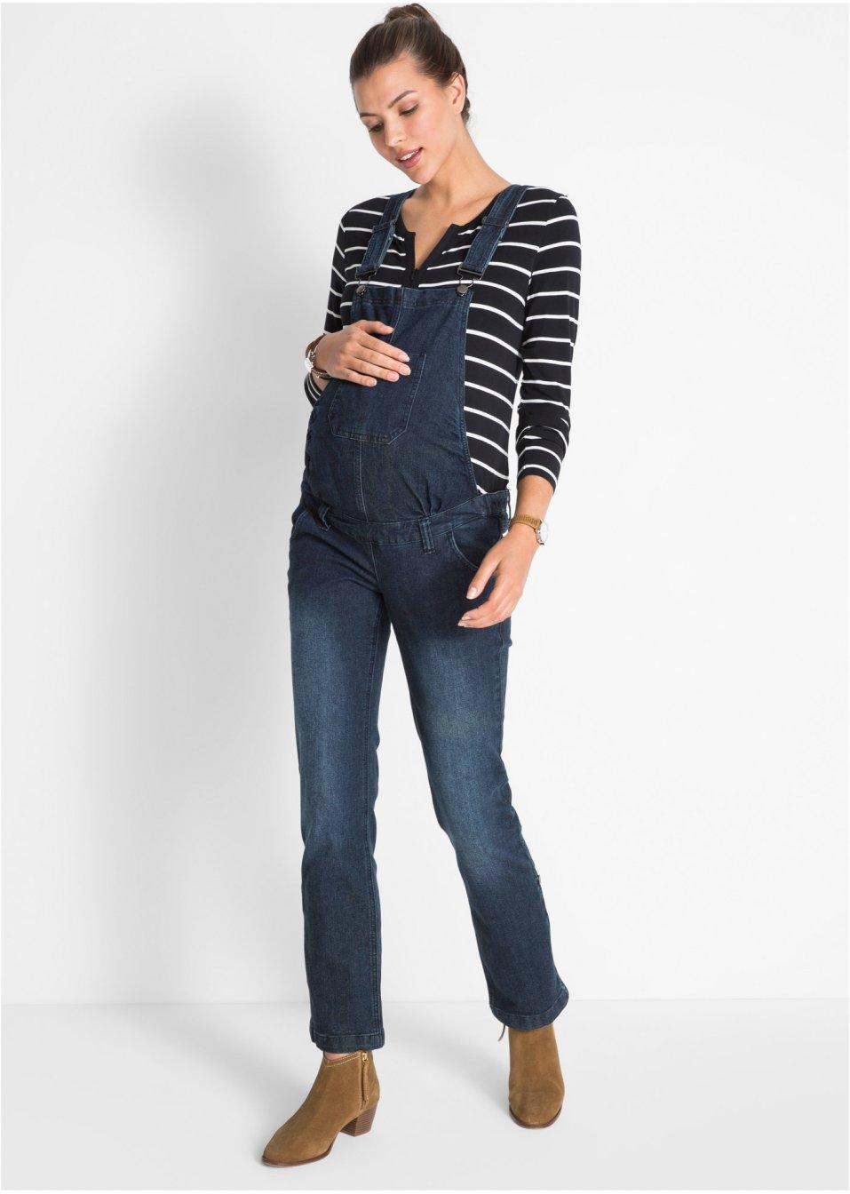 Těhotenské kalhoty s laclem tmavě modrá stone - bpc bonprix collection -  bonprix.cz 74a1f3a595