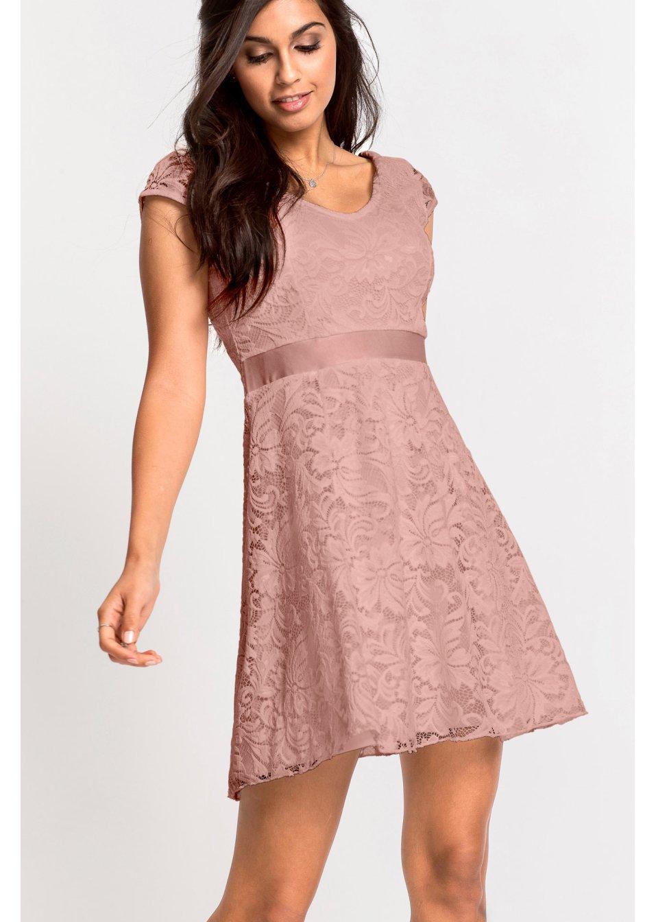 43d03c062dc8 Žerzejové šaty s krajkou růžová vintage - BODYFLIRT koupit online -  bonprix.cz