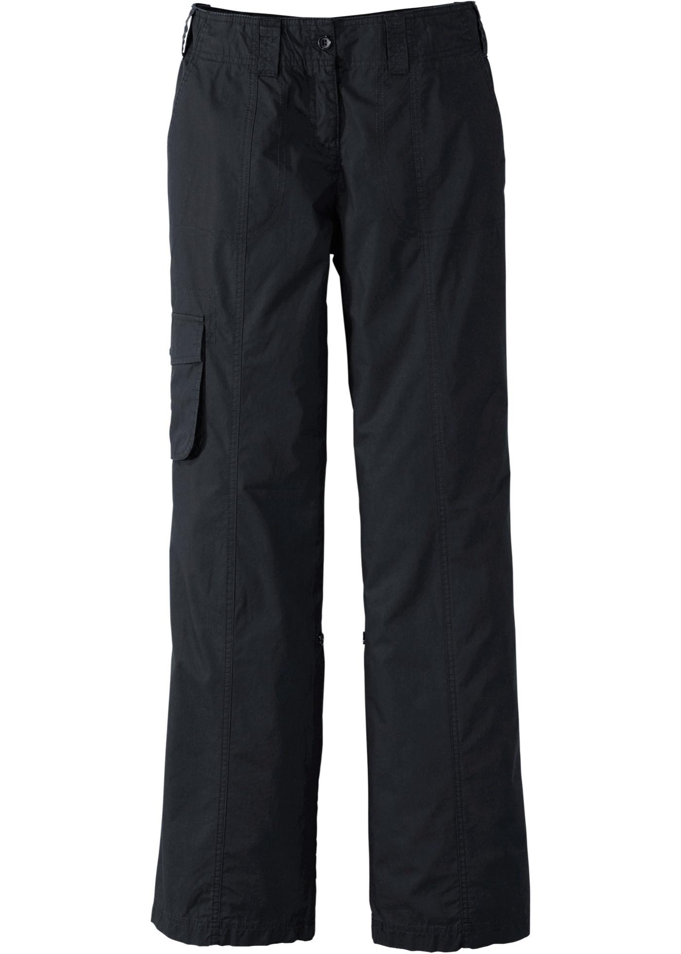 Ohrnovací kargo kalhoty - Černá