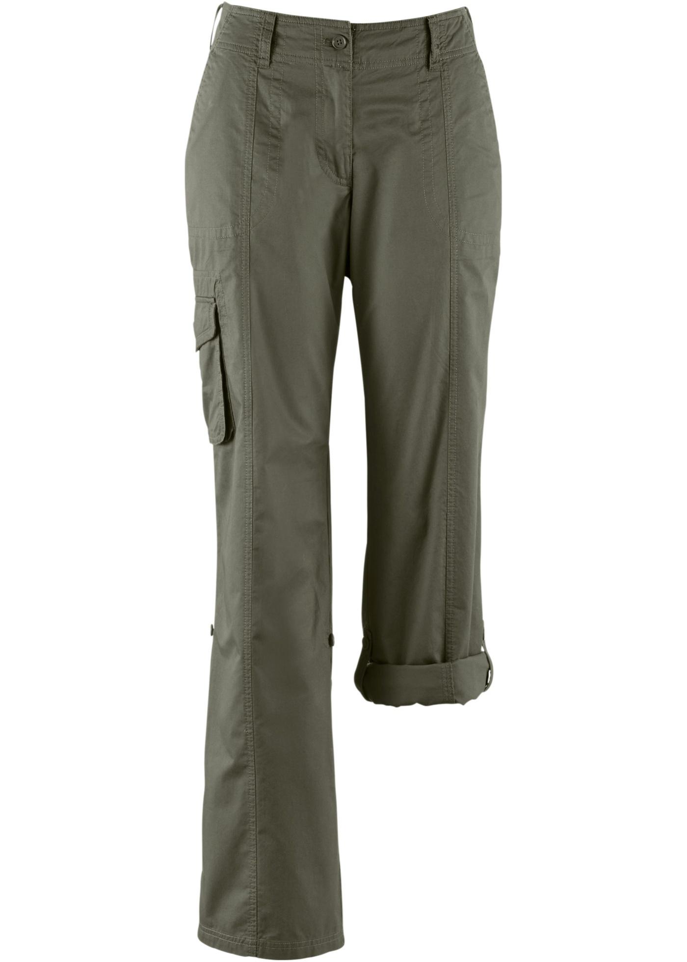 Ohrnovací kargo kalhoty - Zelená