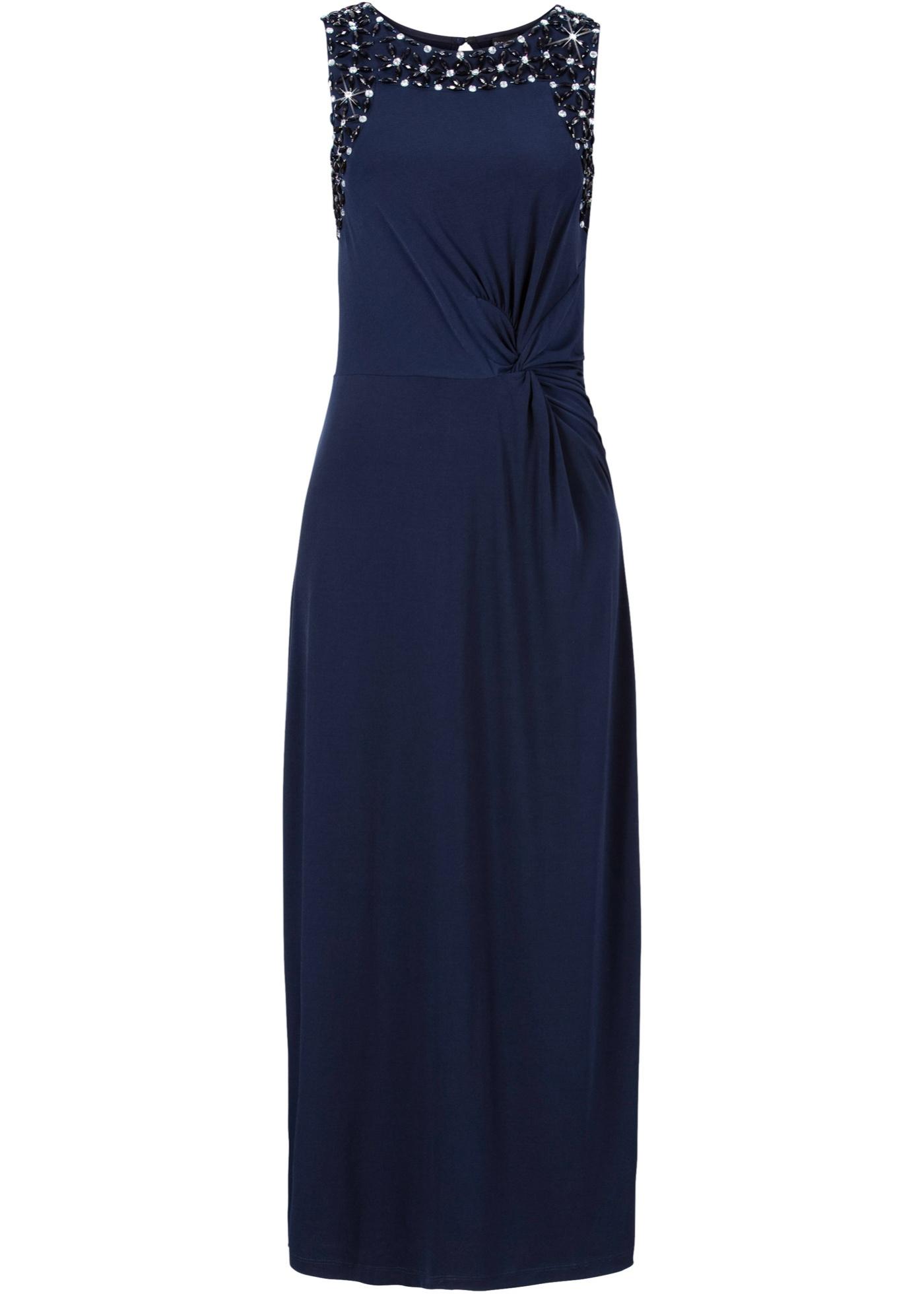 Dlouhé šaty s ozdobnými kamínky - Modrá 1d7246eb79