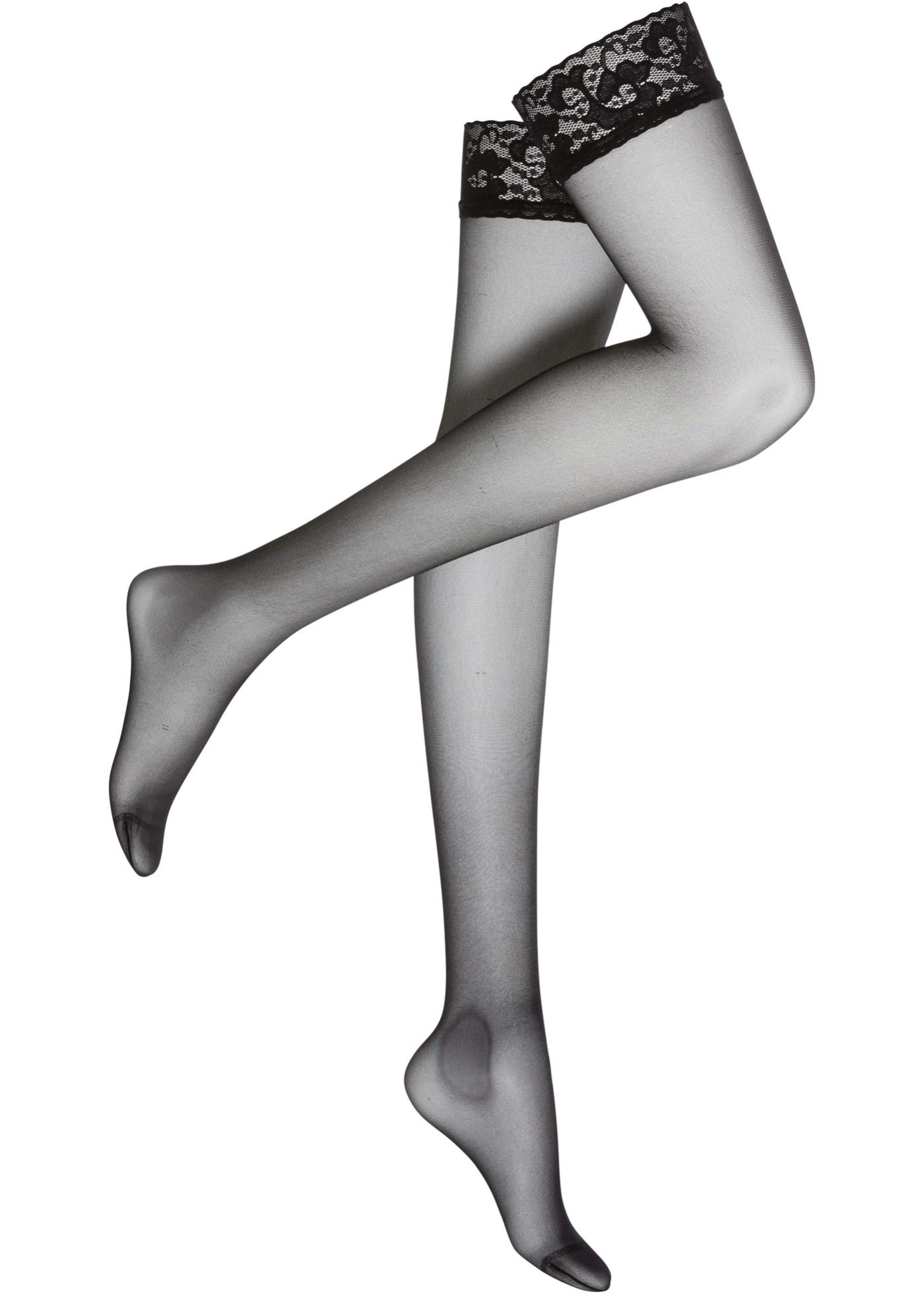 Podvazkové punčochy s krajkou - Černá