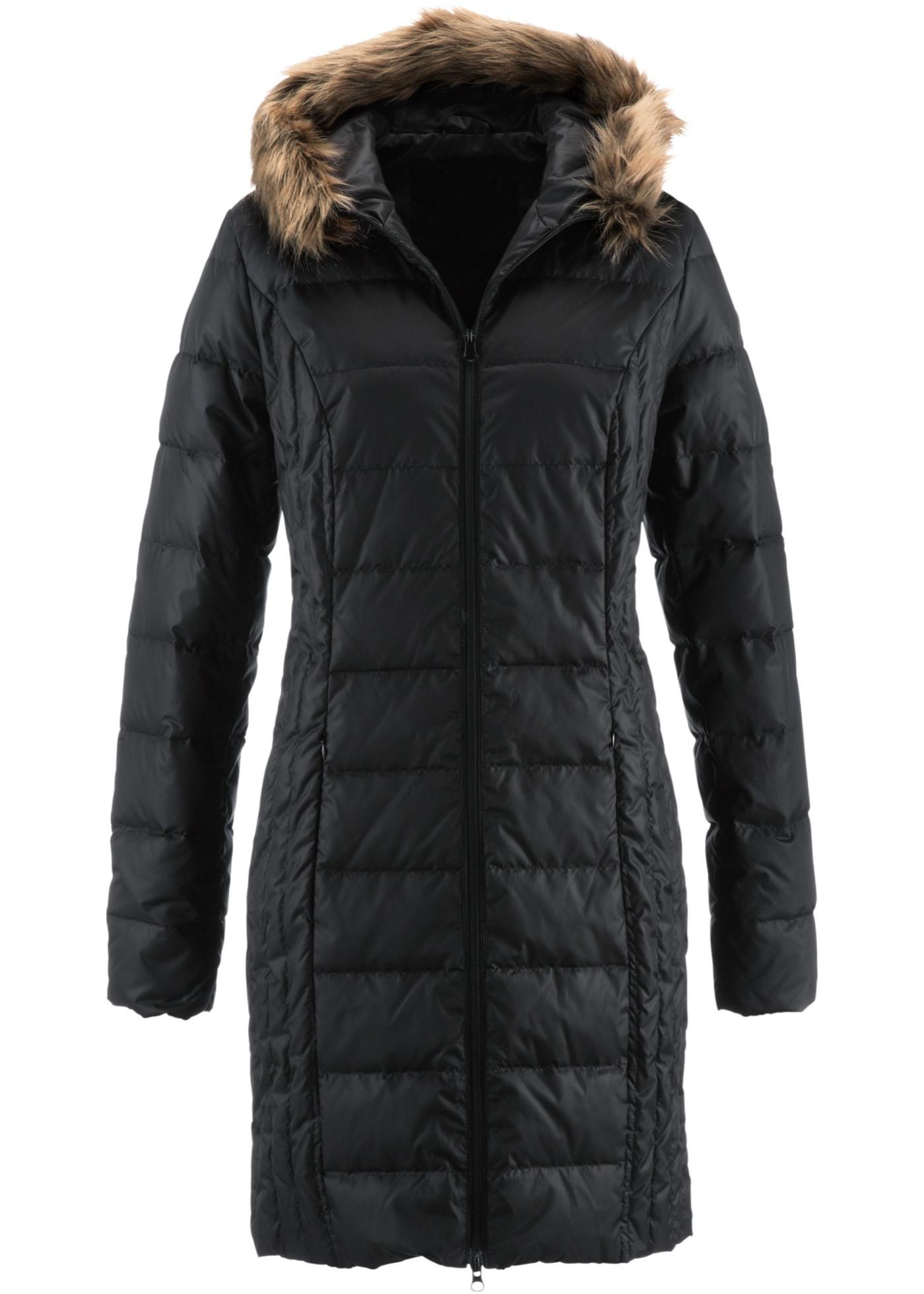 Prošívaný péřový kabát - Černá