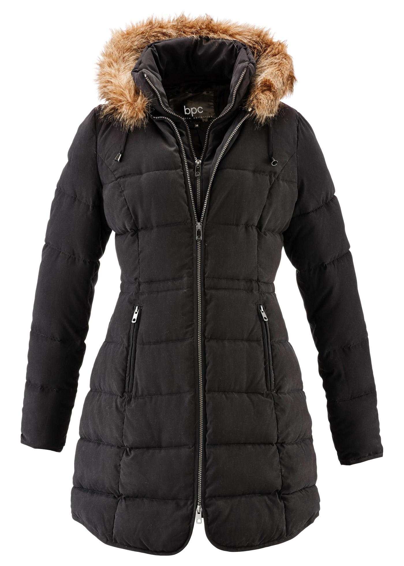 Krátký kabát s kapucí - Černá 6e37d725cea