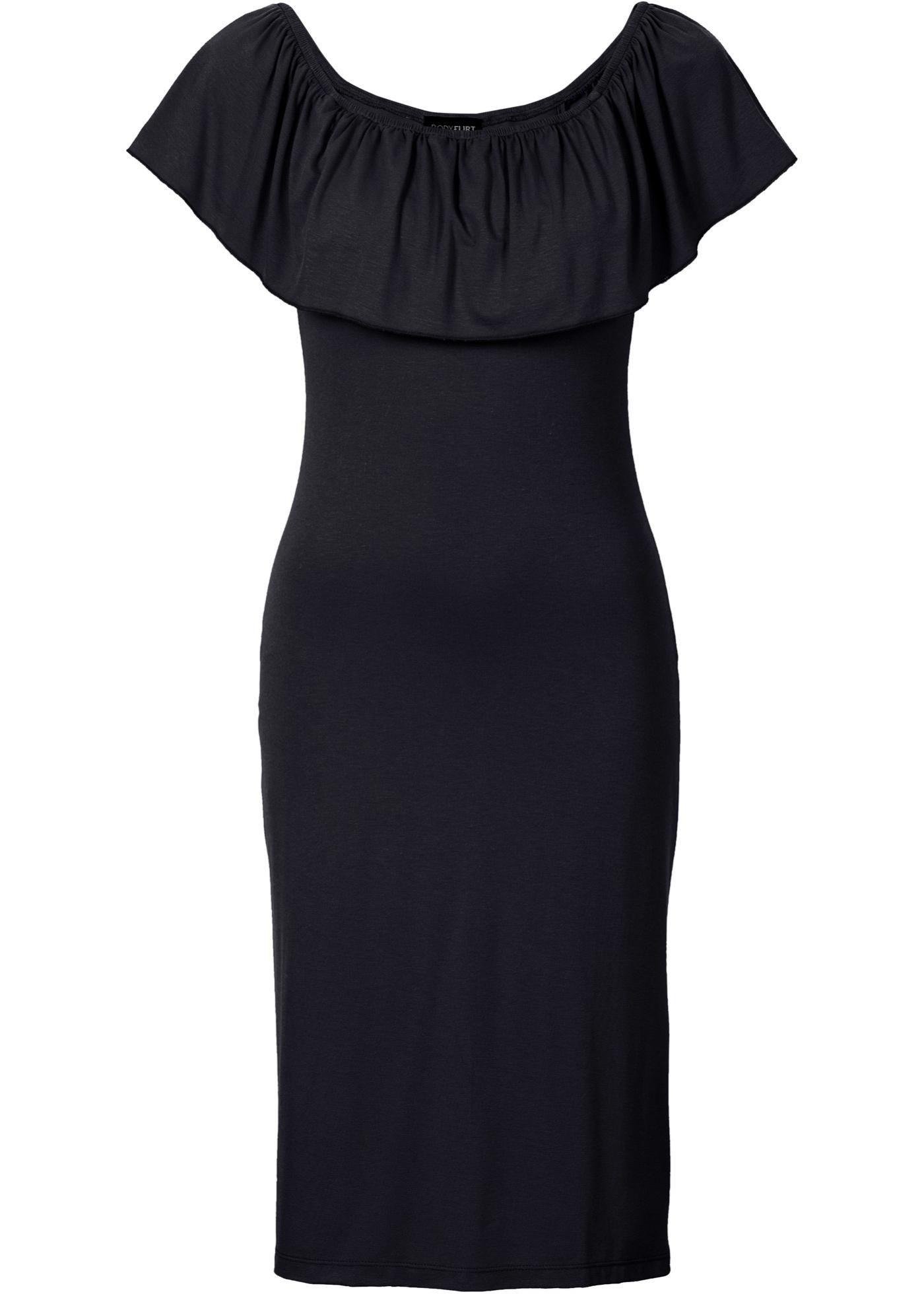 Letní žerzejové šaty s výstřihem Carmen - Černá 3eddd88d5b