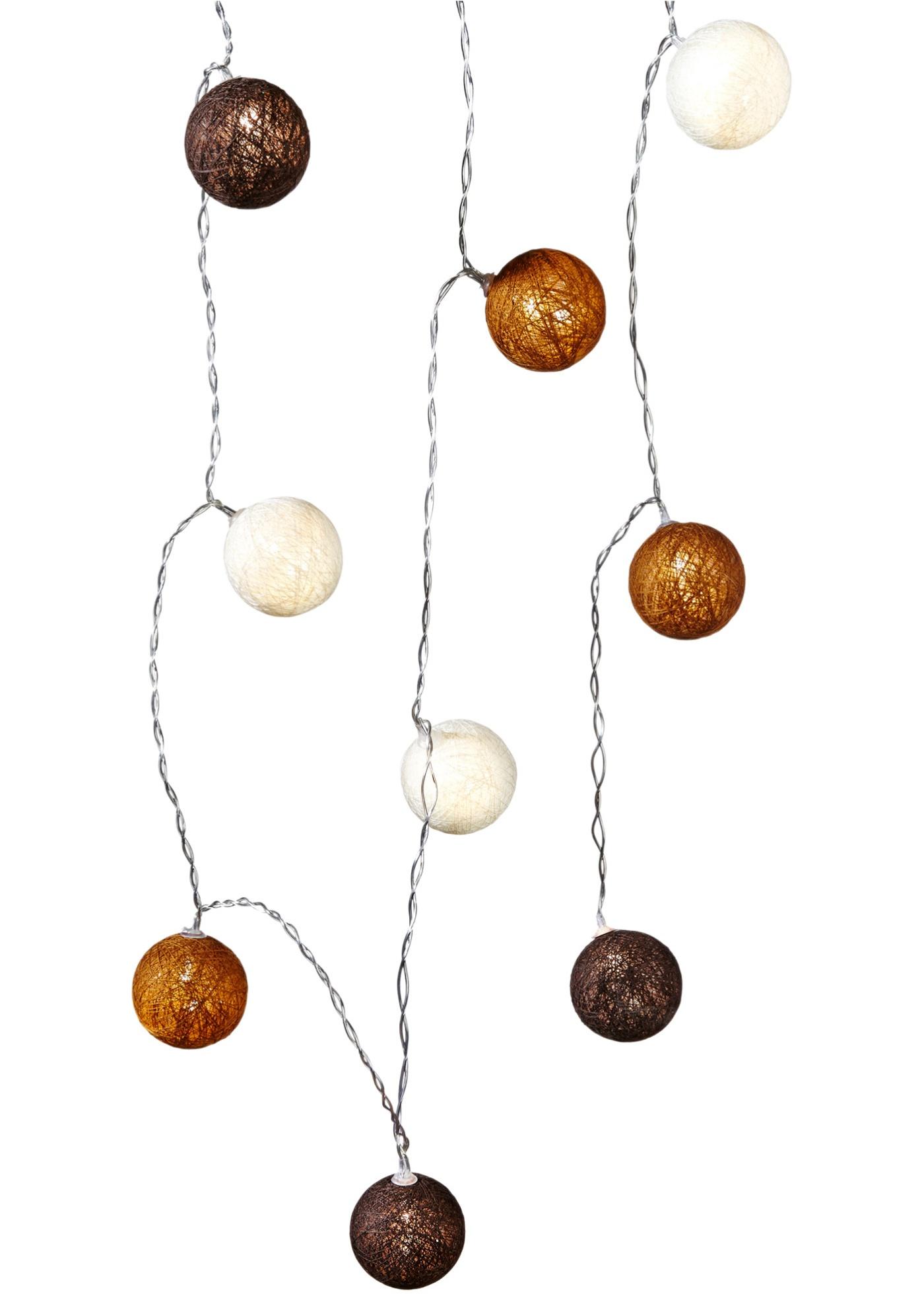 LED Světelný řetěz Cotton Balls (10dílná souprava) - Hnědá