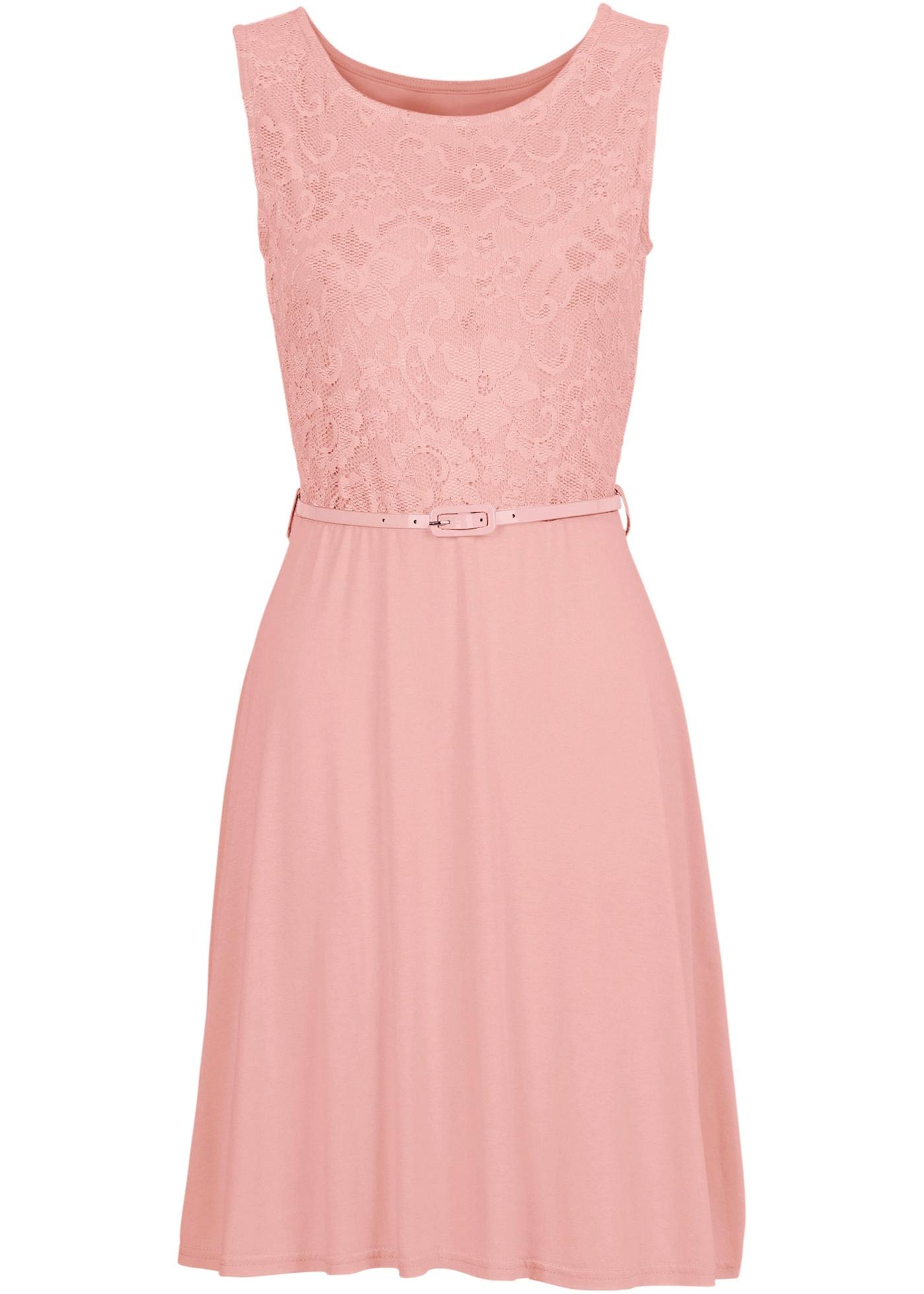 Šaty s krajkou - Růžová