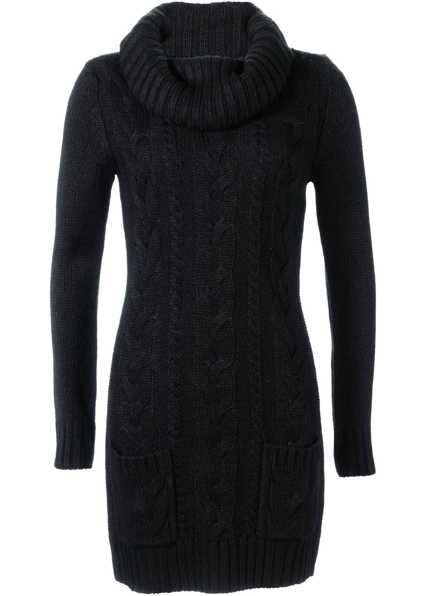 Pletené šaty - Černá