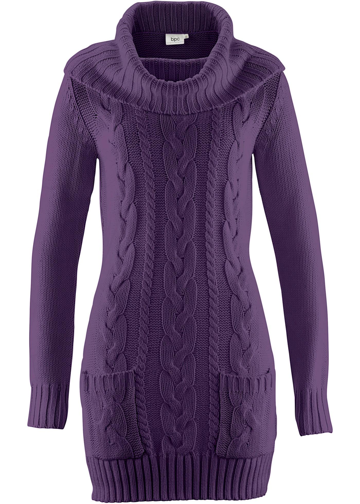 Pletené šaty - Fialová
