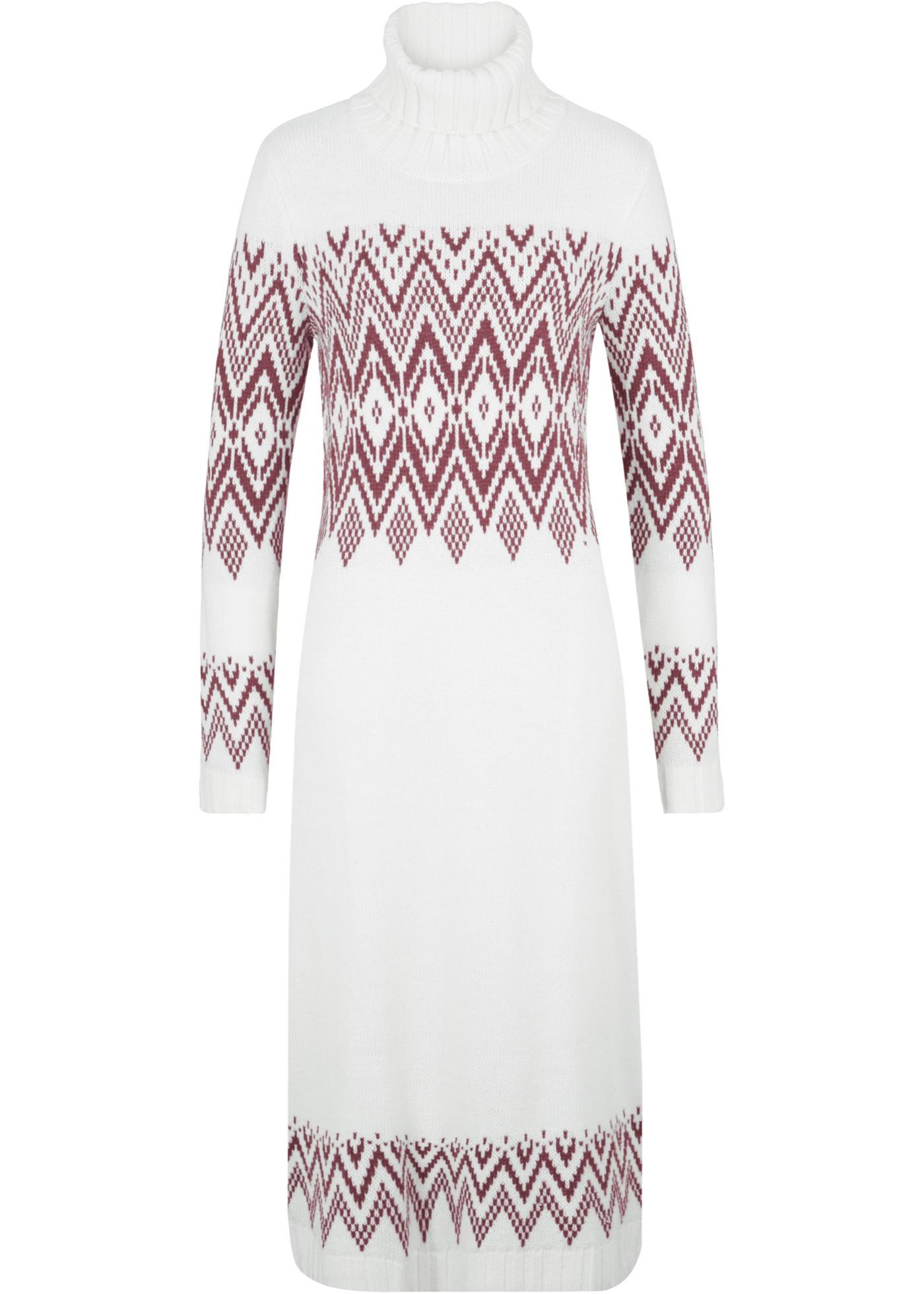 Levné Pletené maxišaty s norským vzorem | Bílá barva šatů