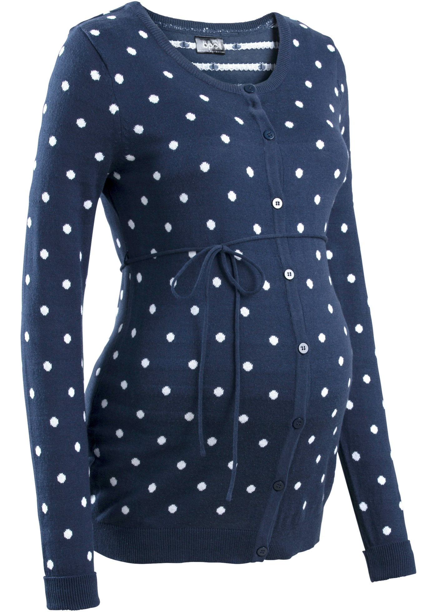 fde8fd7d40e Těhotenský svetr s puntíky - Modrá