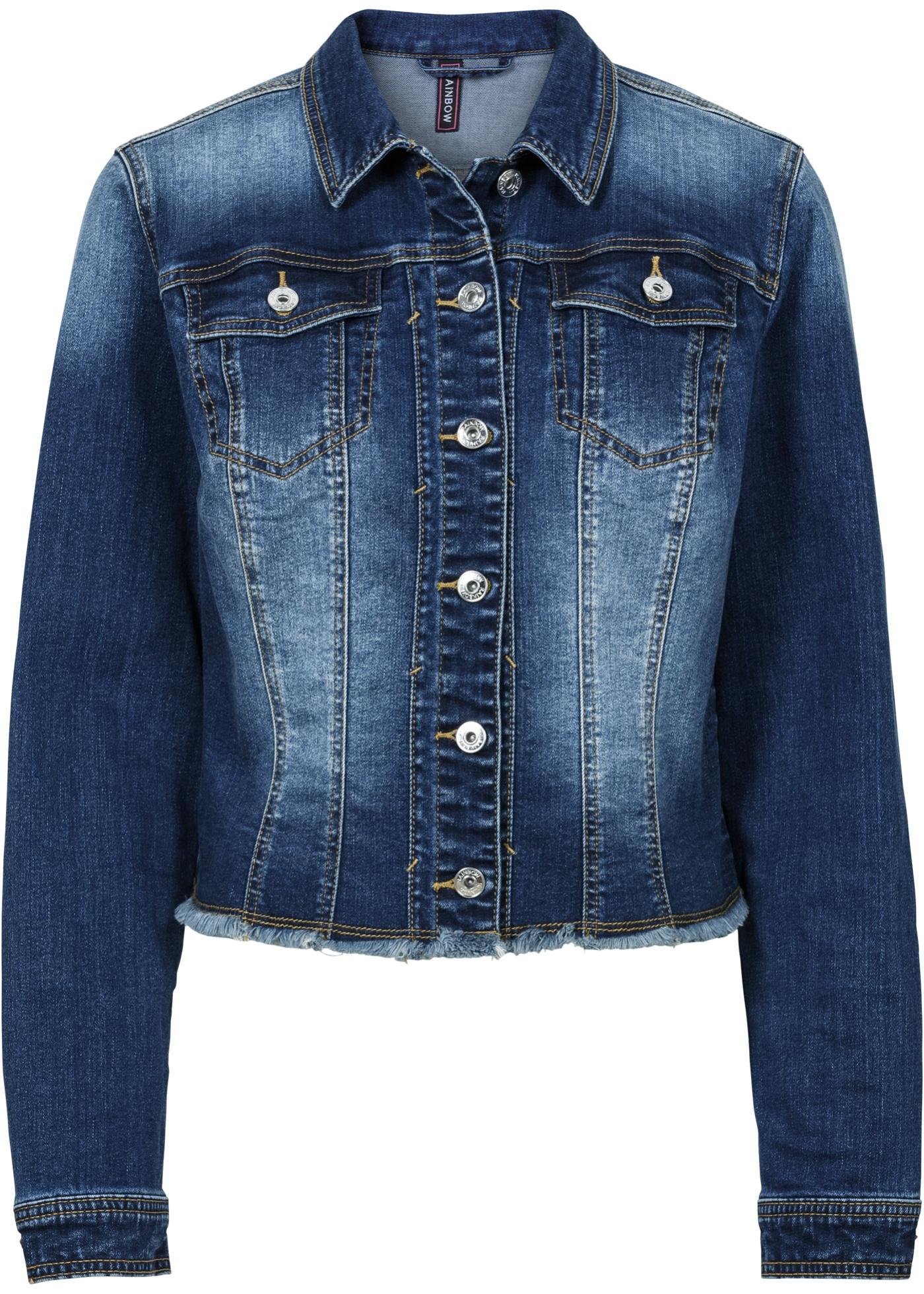 Džínová bunda s obnošenými efekty - Modrá