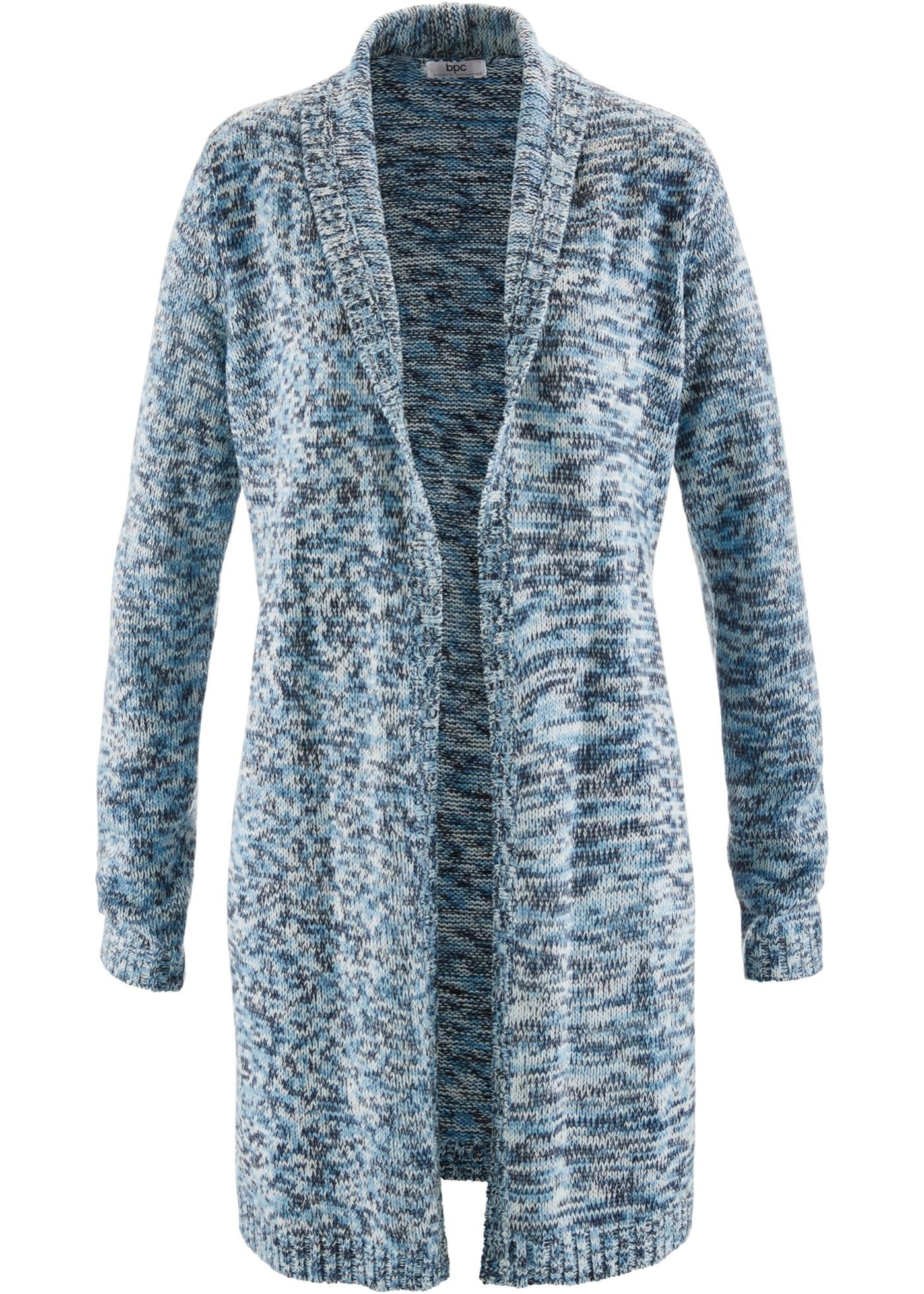 Dlouhý pletený kabátek, dlouhý rukáv - Modrá