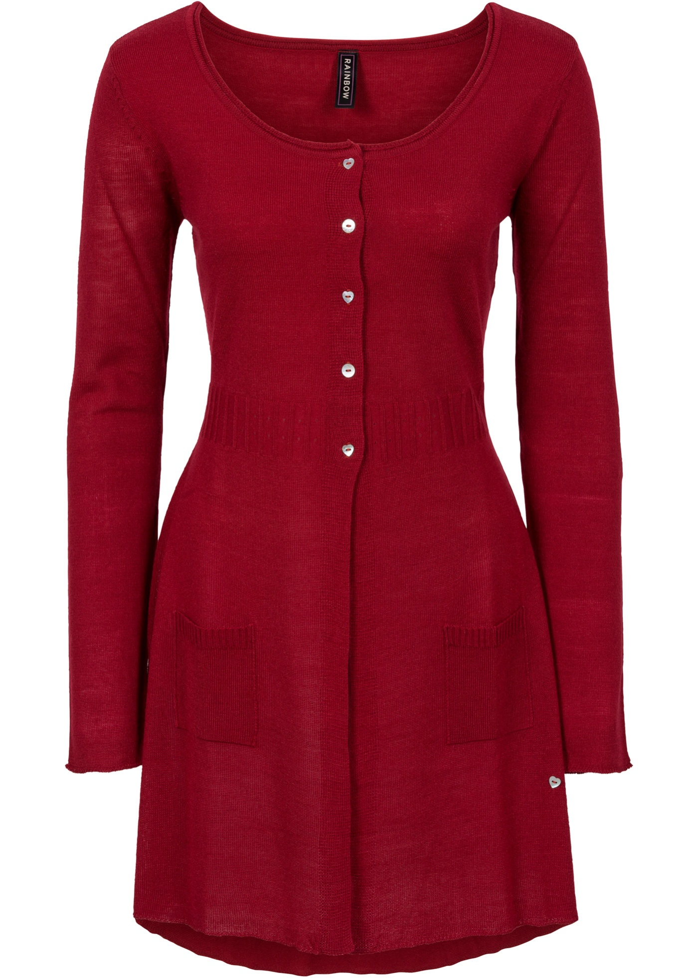Dlouhý pletený kabátek - Červená