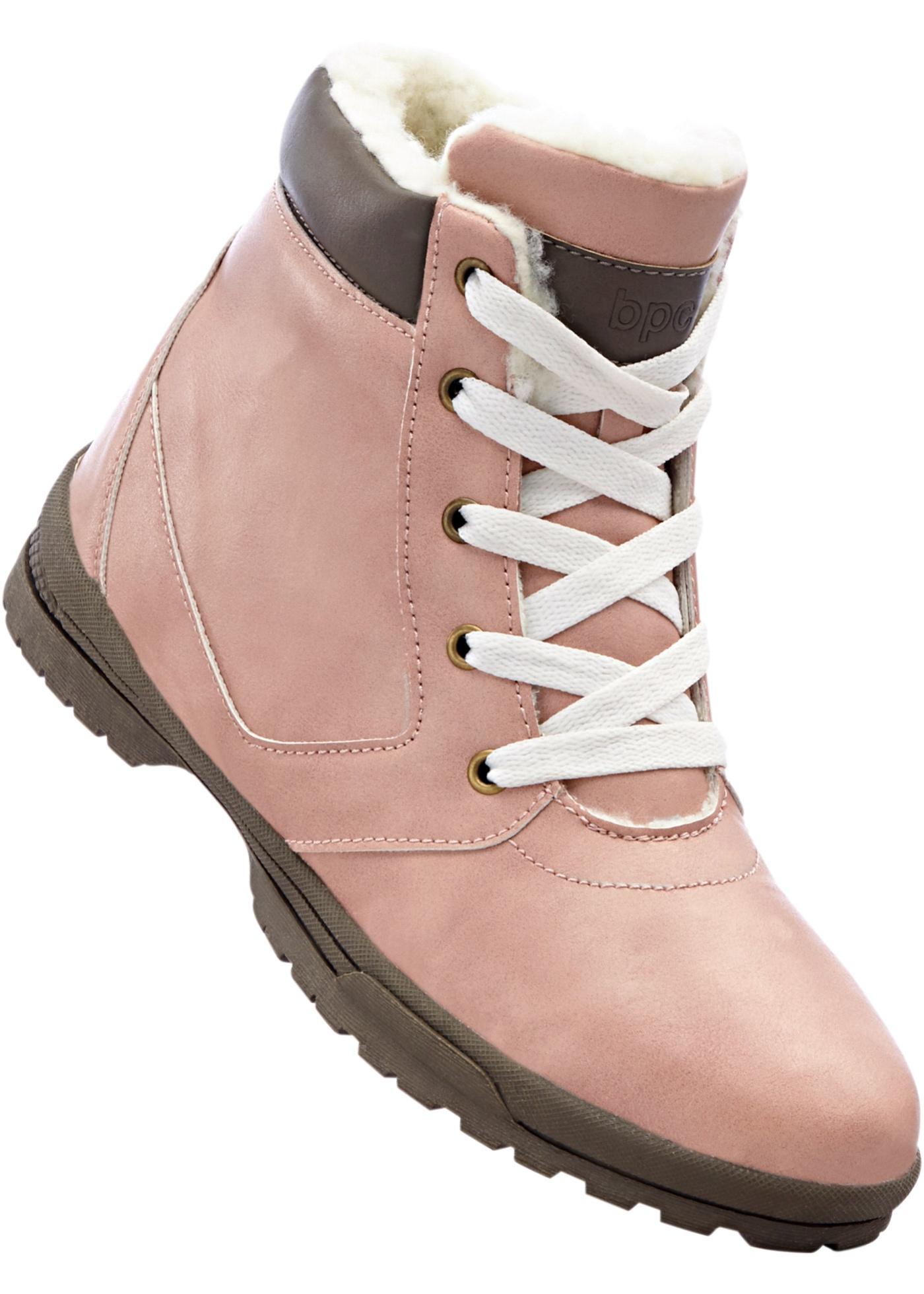 Zimní obuv na šněrování - Růžová