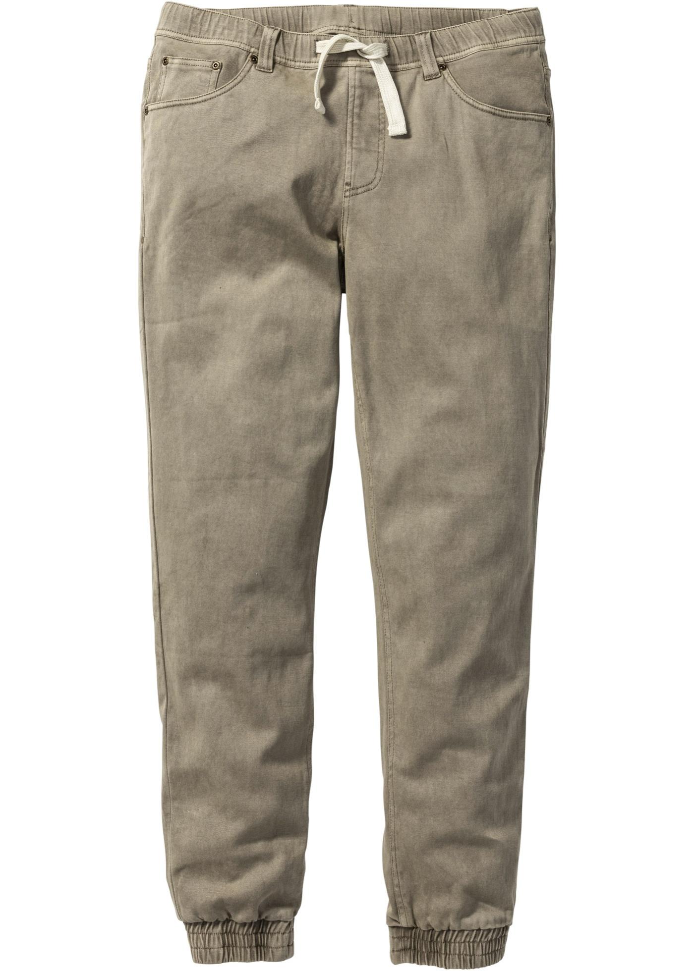ef7a7e6fc59b Strečové kalhoty bez zapínání Slim Fit Straight - Zelená