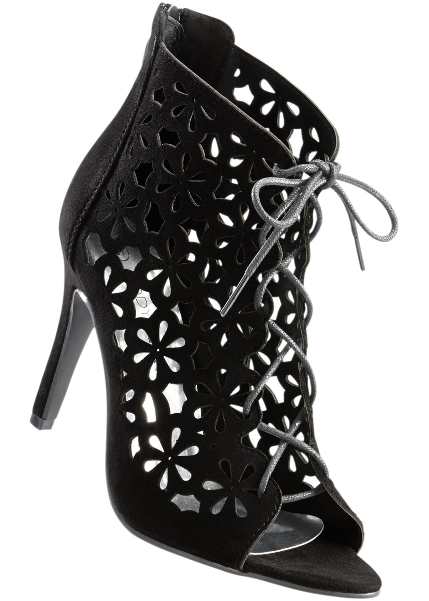Kotníčková obuv se šněrováním - Černá