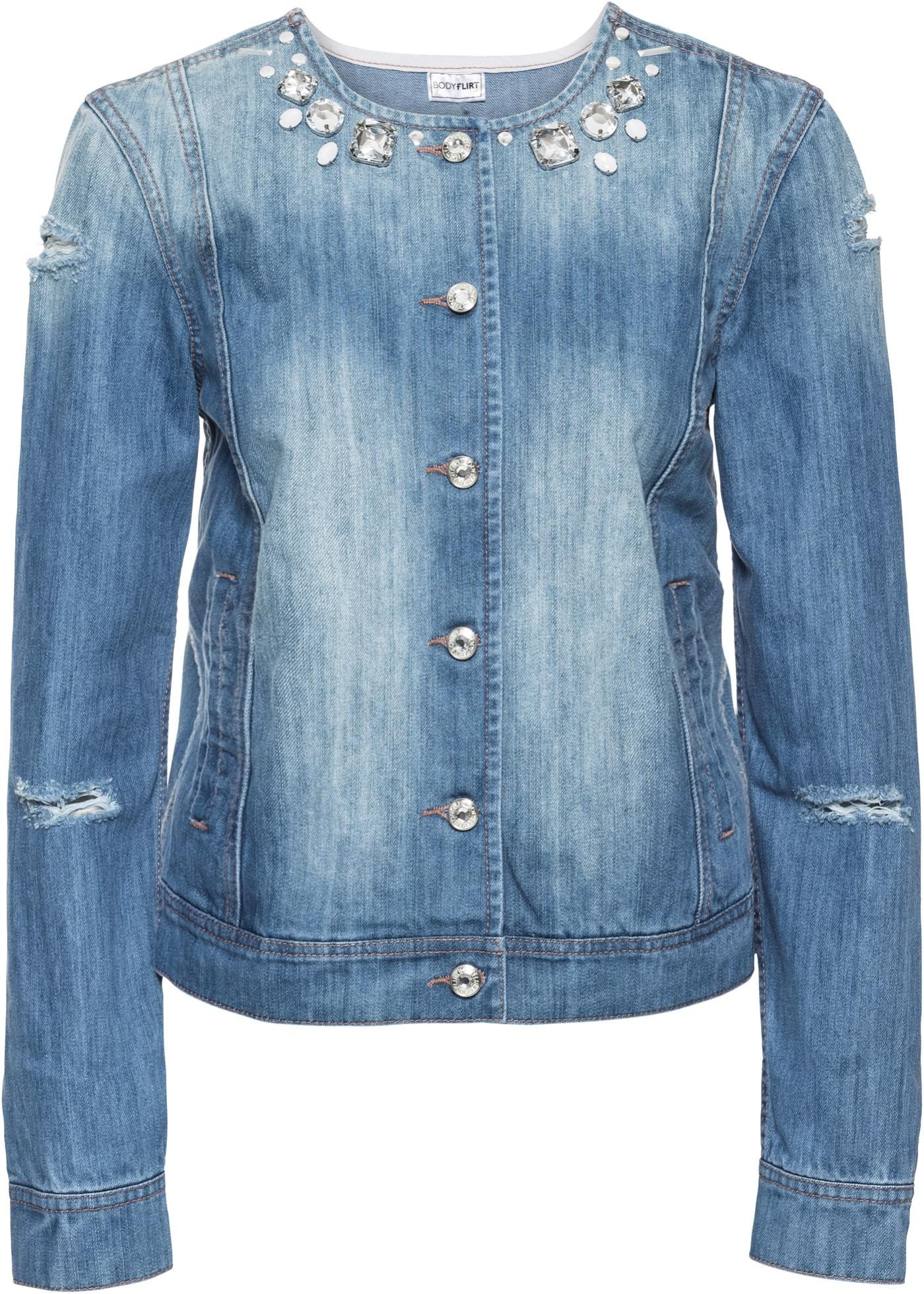 Džínová bunda s ozdobnými kamínky - Modrá