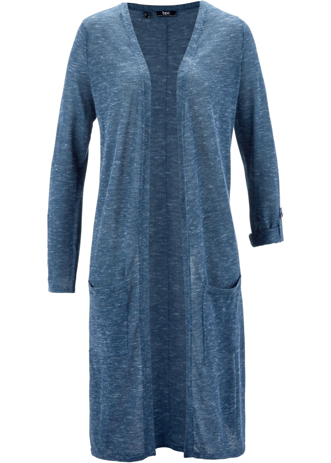 Dlouhý pletený kabátek - Modrá