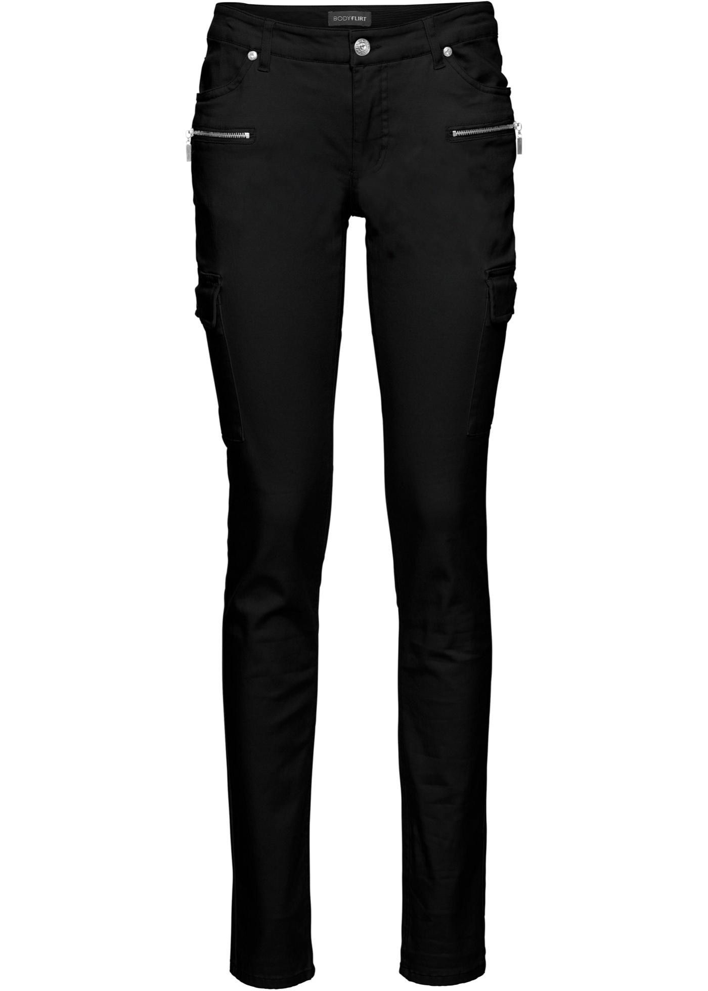 Strečové kargo kalhoty - Černá