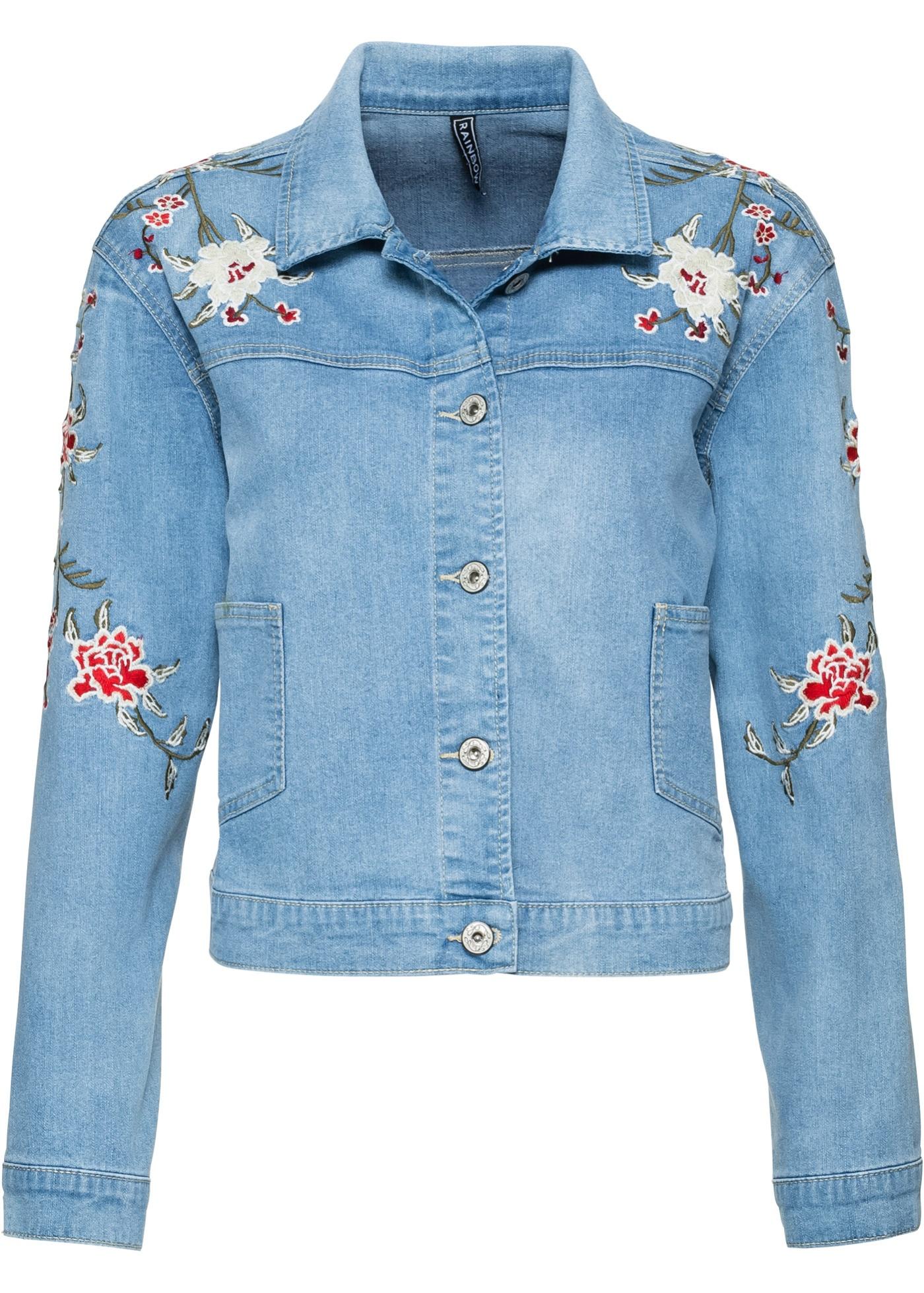 Džínová bunda s výšivkou - Modrá