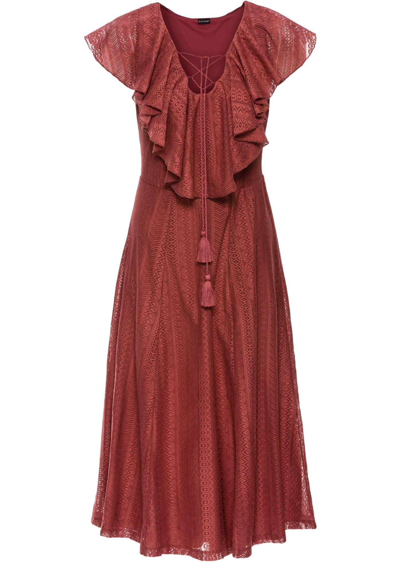 123e5902a207 Krajkové šaty s volánky - Červená