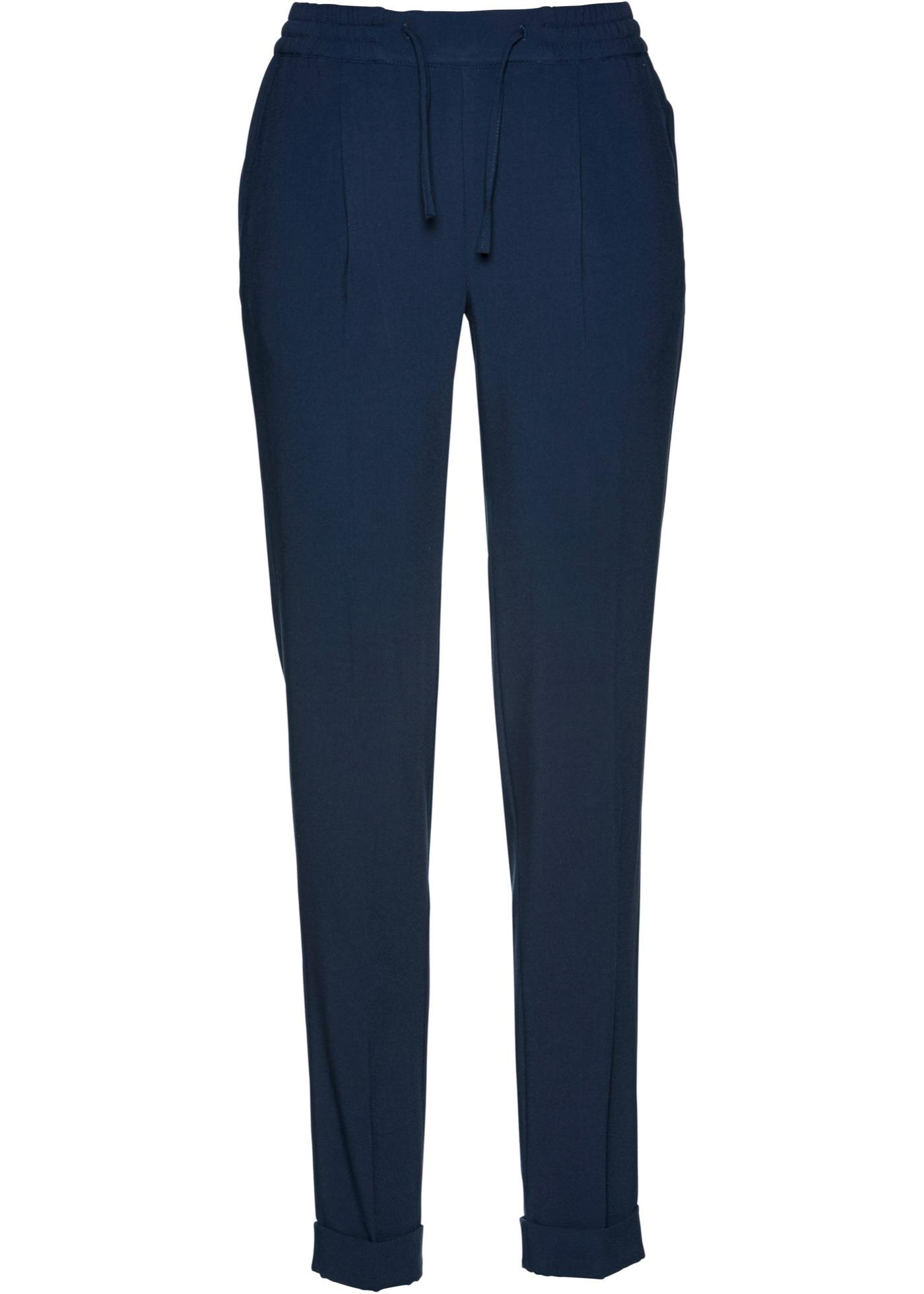 Kalhoty s průvlekem na gumu - Modrá