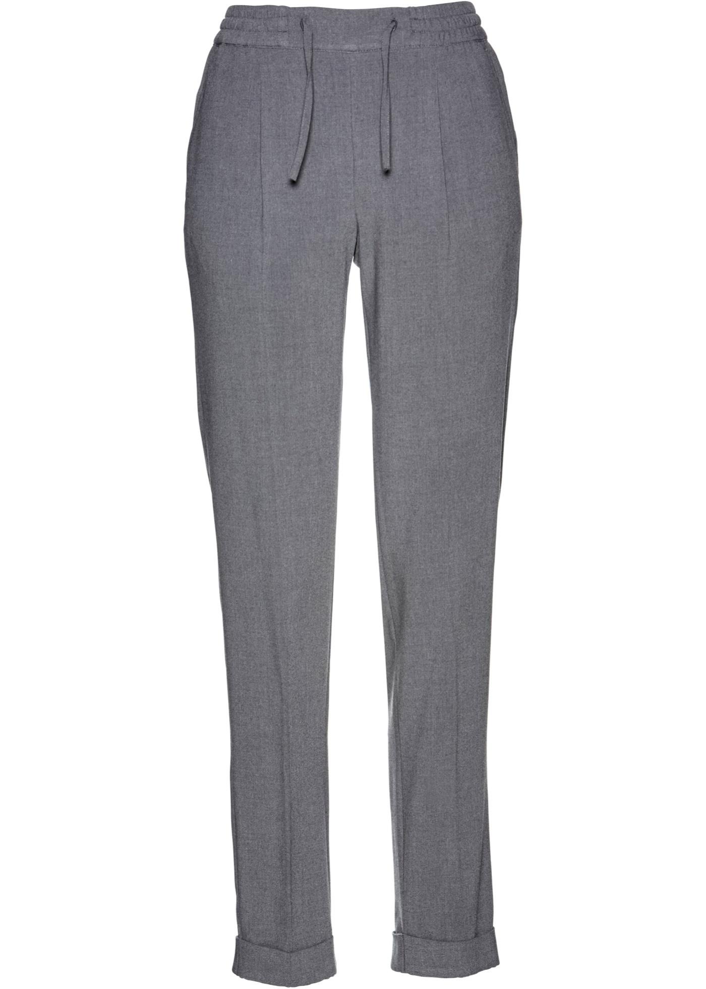 Kalhoty s průvlekem na gumu - Šedá