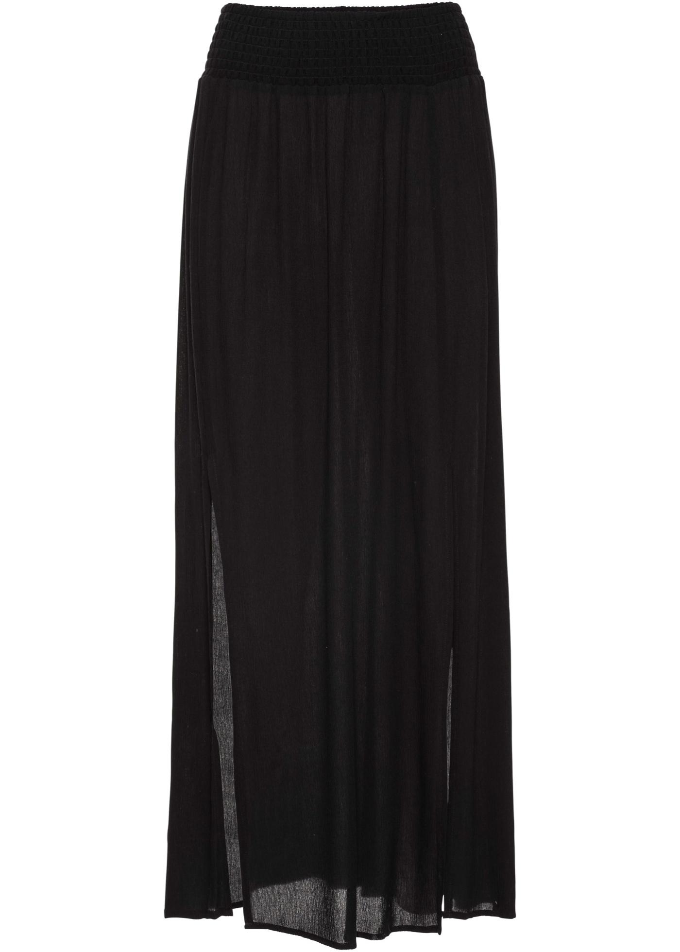 Dlouhá sukně s rozparky - Černá