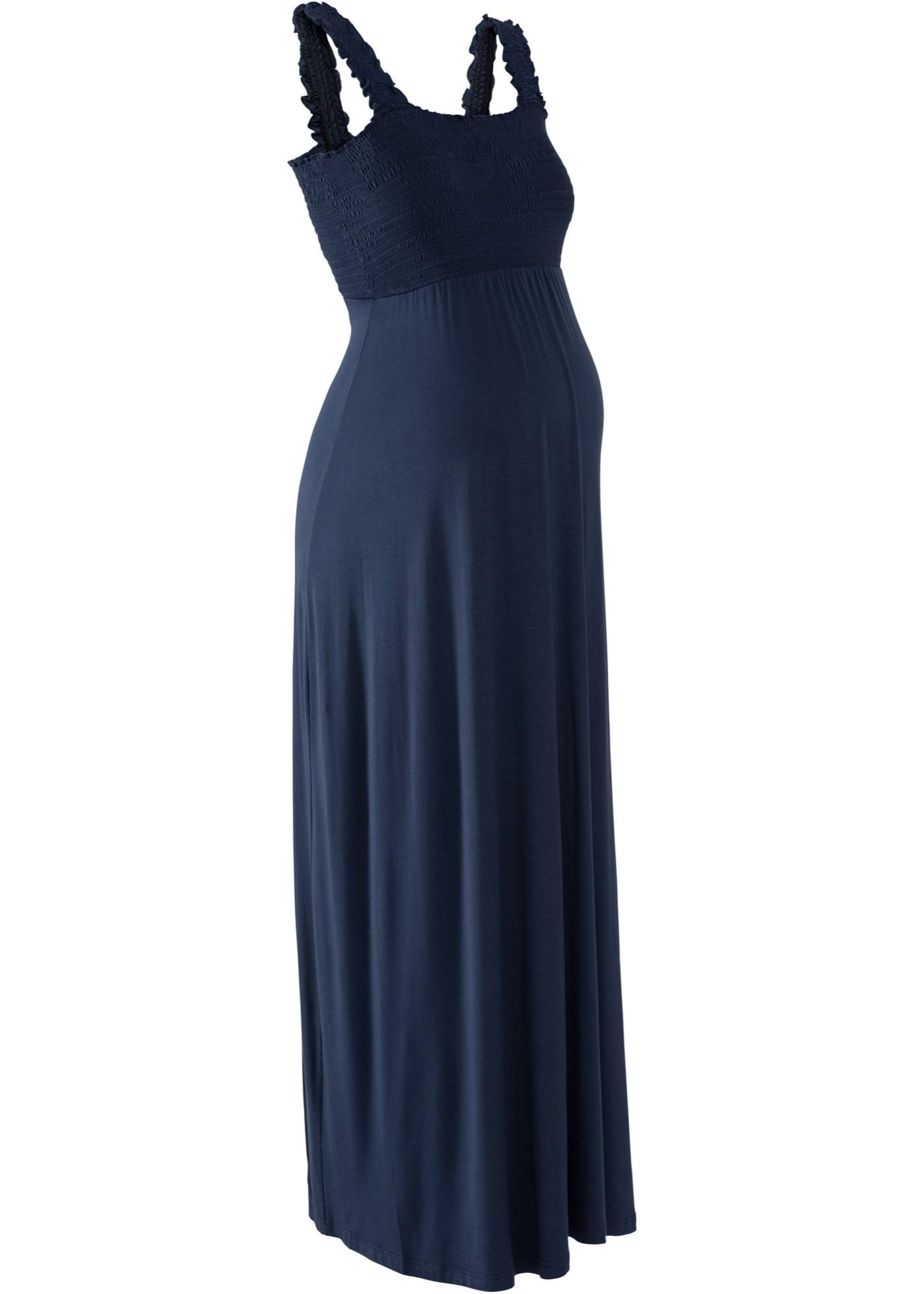 73dd777115c Dlouhé těhotenské šaty - Modrá