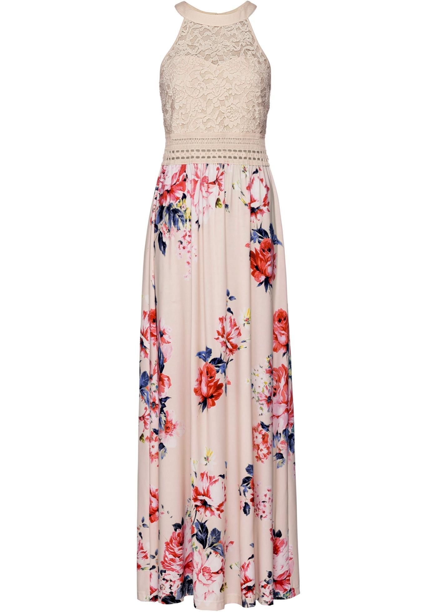 Letní šaty s květovým vzorem a krajkou - Béžová db38348fd8