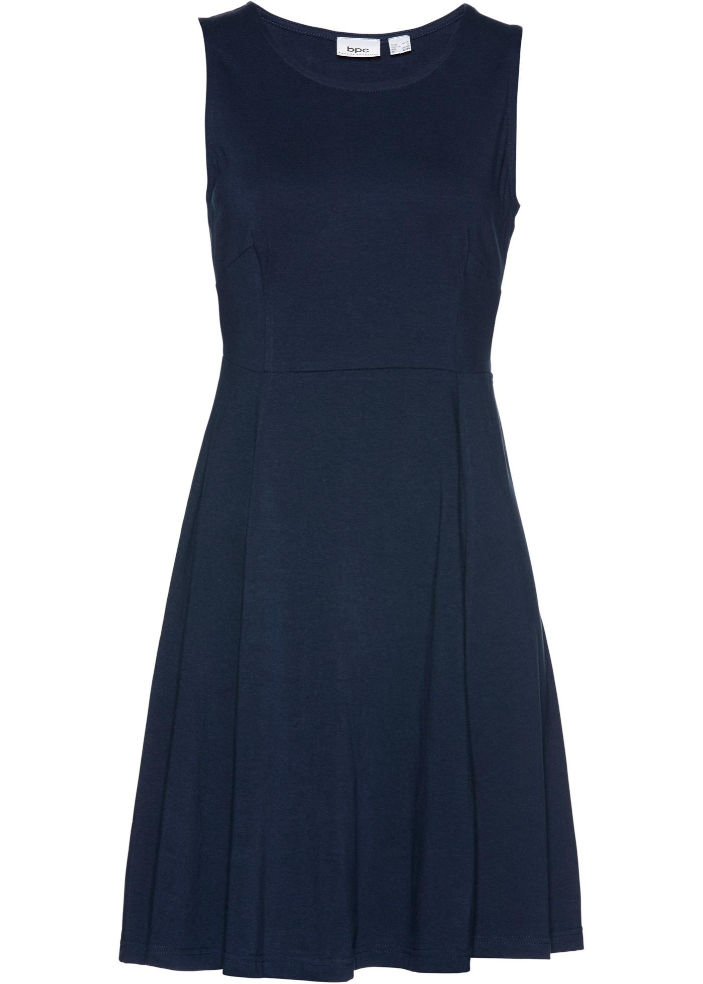 Žerzejové šaty bez rukávů - Modrá