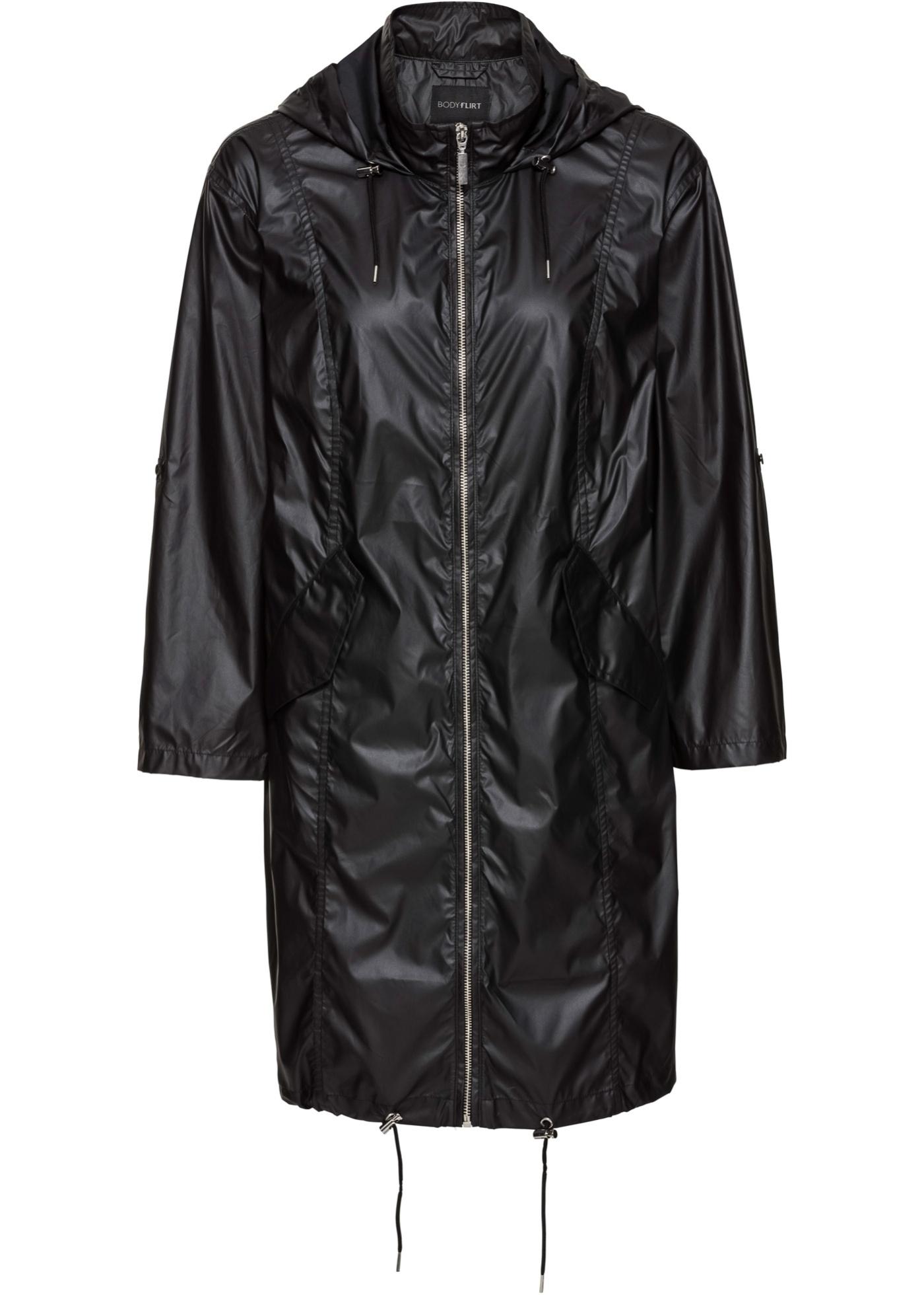Lesklá bunda bez podšívky - Černá