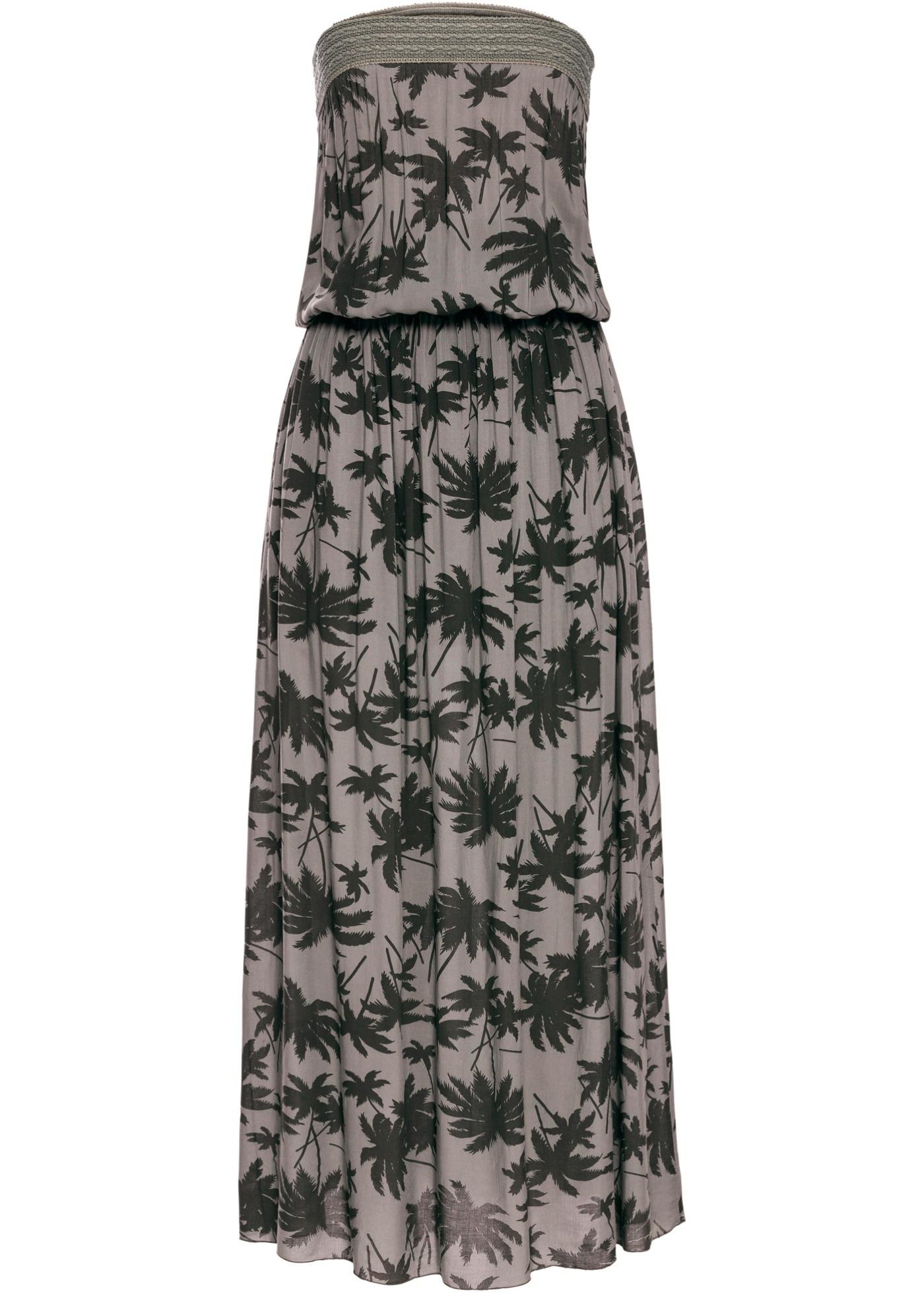 Bandážové dlouhé šaty s palmami - Zelená b55fbe3bde