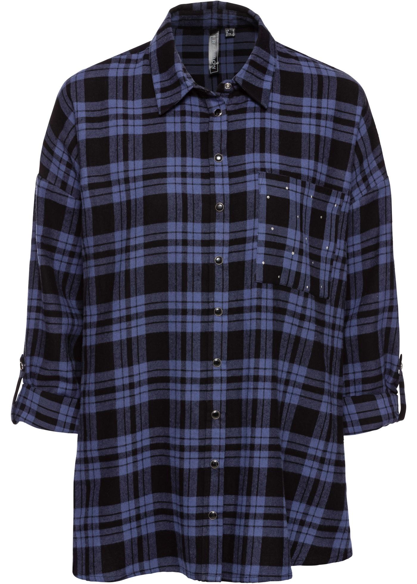 422fc3409c16 Flanelová košile s nýty - Modrá