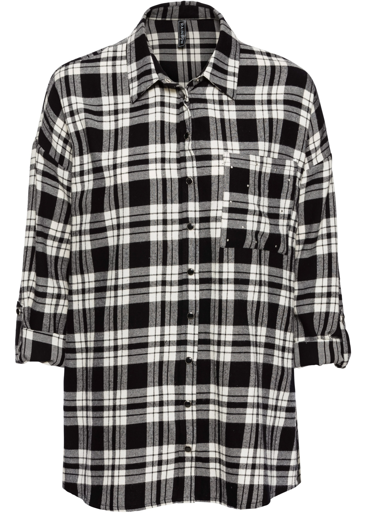 Flanelová košile s nýty - Černá 7191599f70