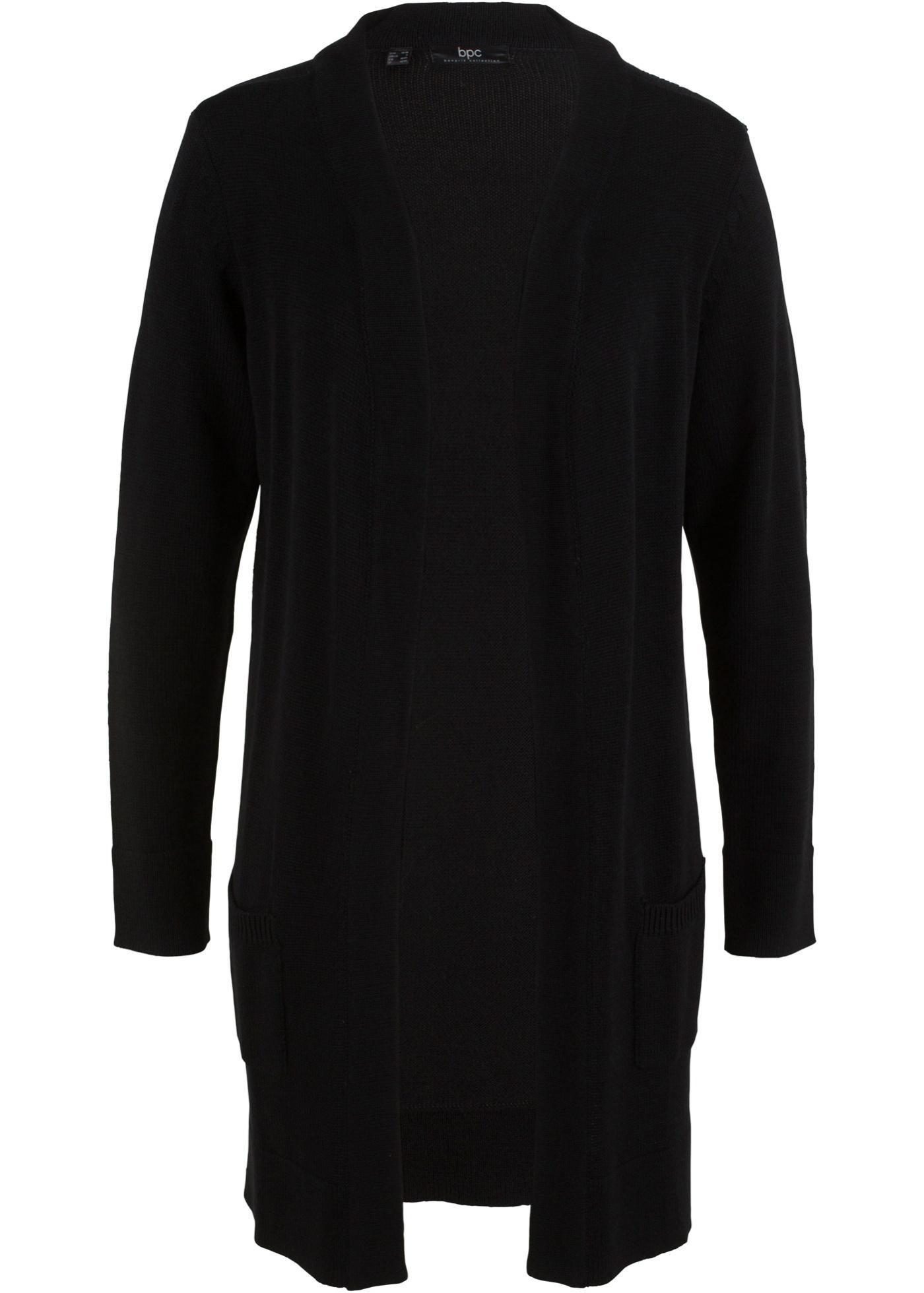 Dlouhý pletený kabátek, dlouhý rukáv - Černá