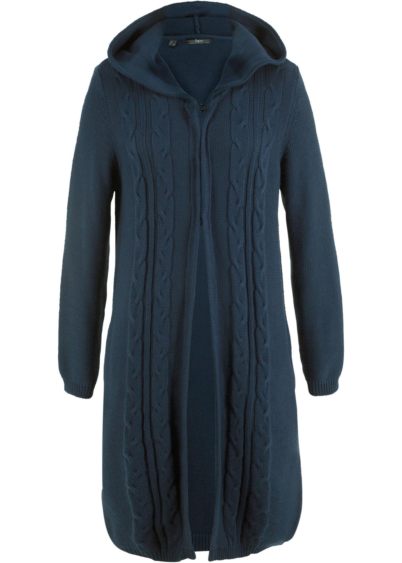 Dlouhý pletený kabátek s kapucí - Modrá