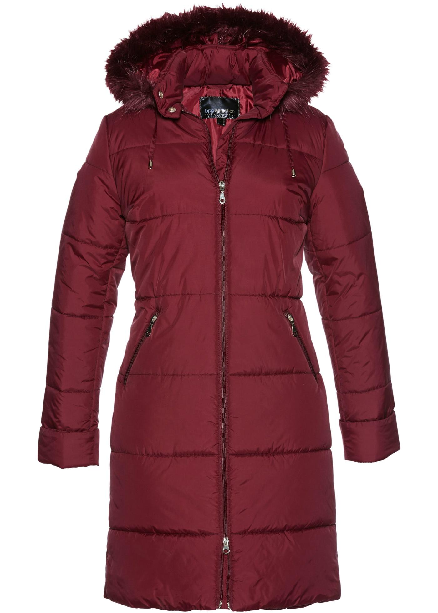 Prošívaný kabát s umělou kožešinou na kapuci - Červená abb3035e1e