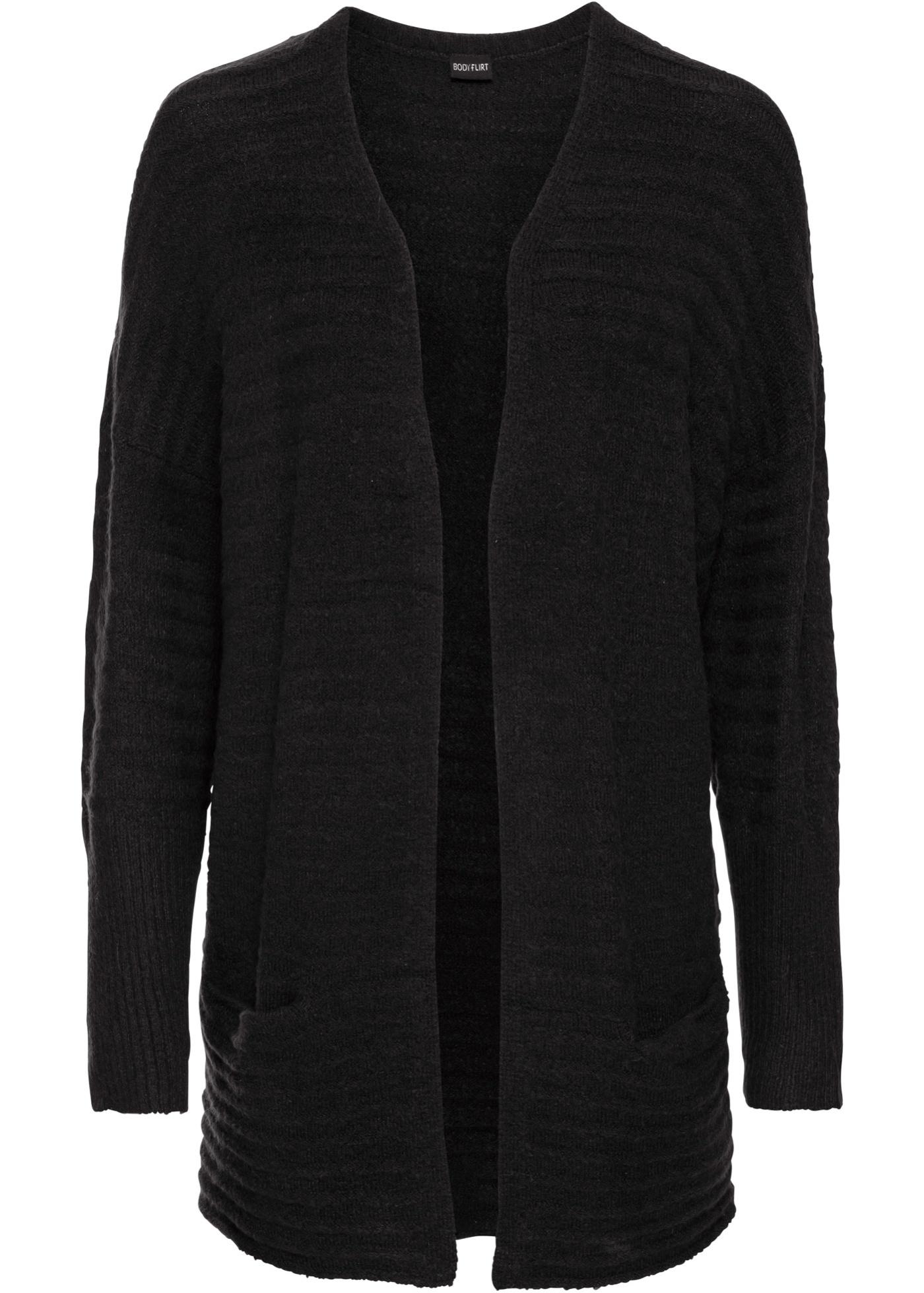 Dlouhý pletený kabátek - Černá