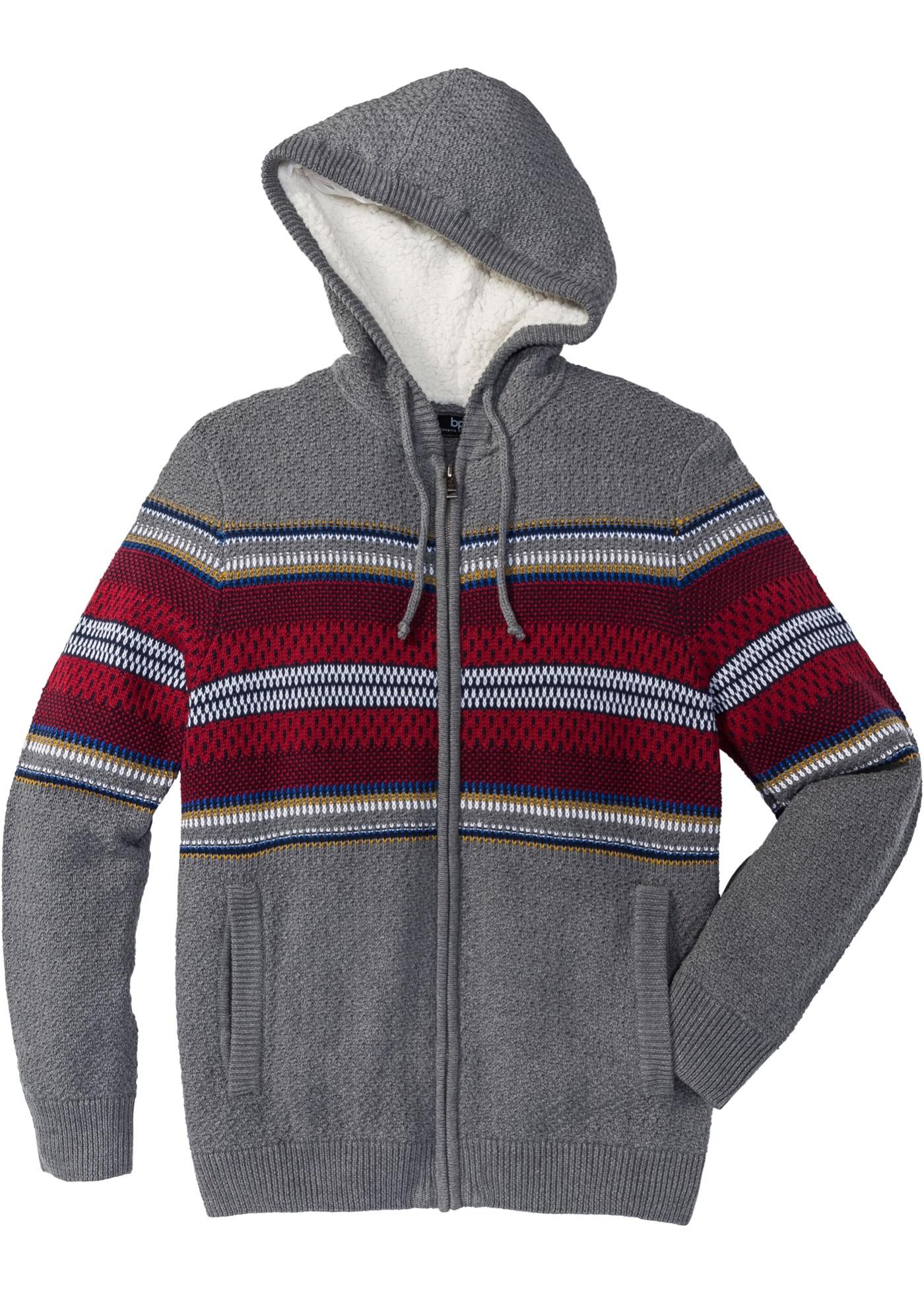 Pletený kabátek s kapucí, Regular Fit - Šedá