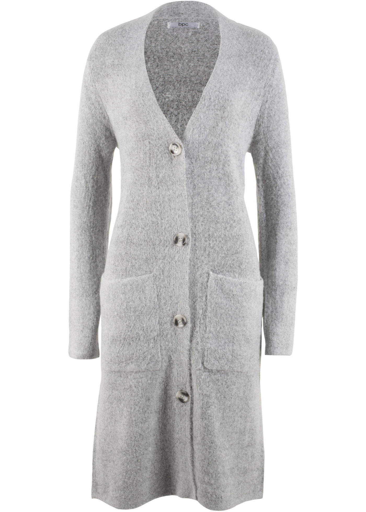 Dlouhý pletený kabátek, dlouhý rukáv - Šedá