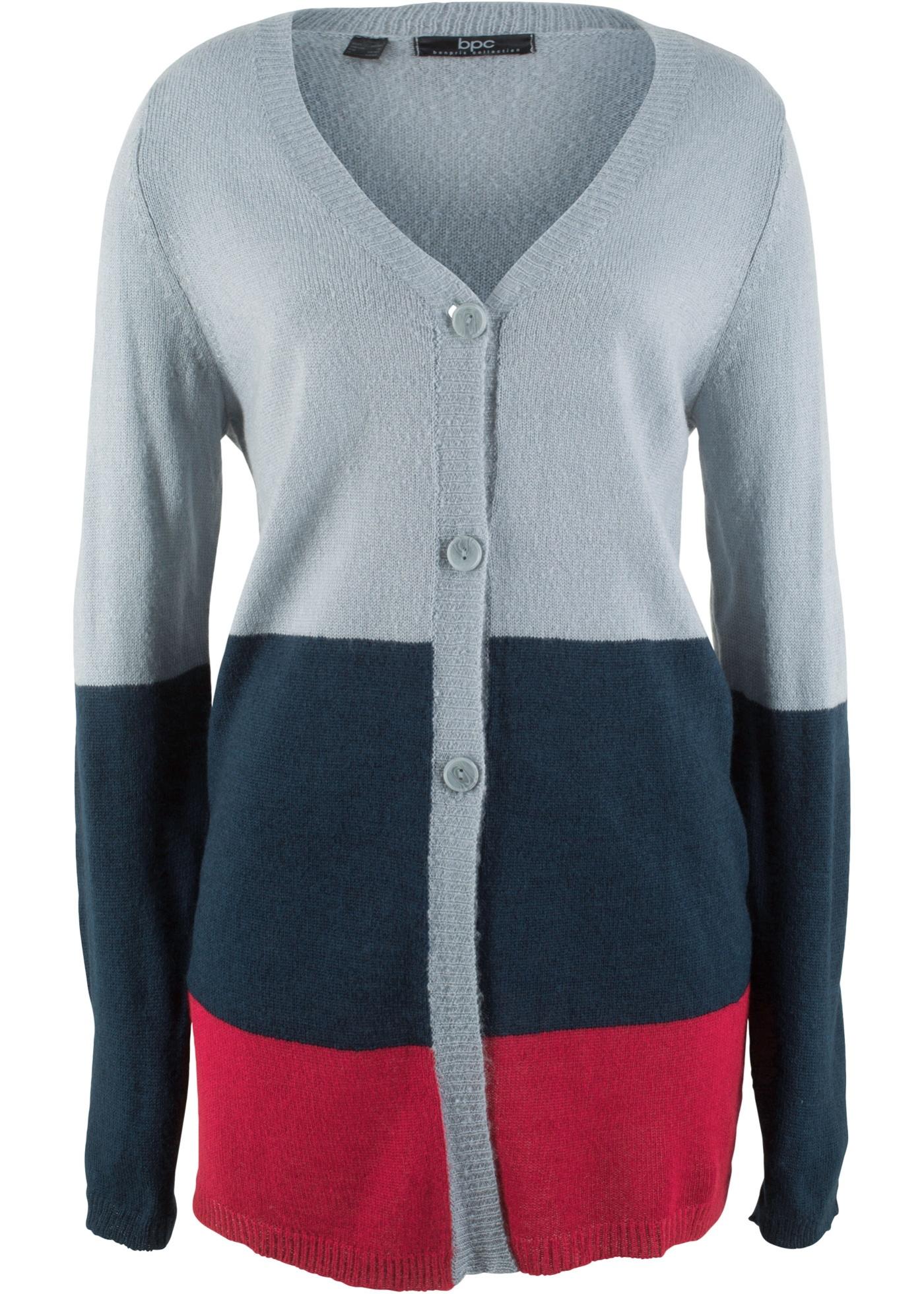 Pletený kabátek, dlouhý rukáv - Stříbrná
