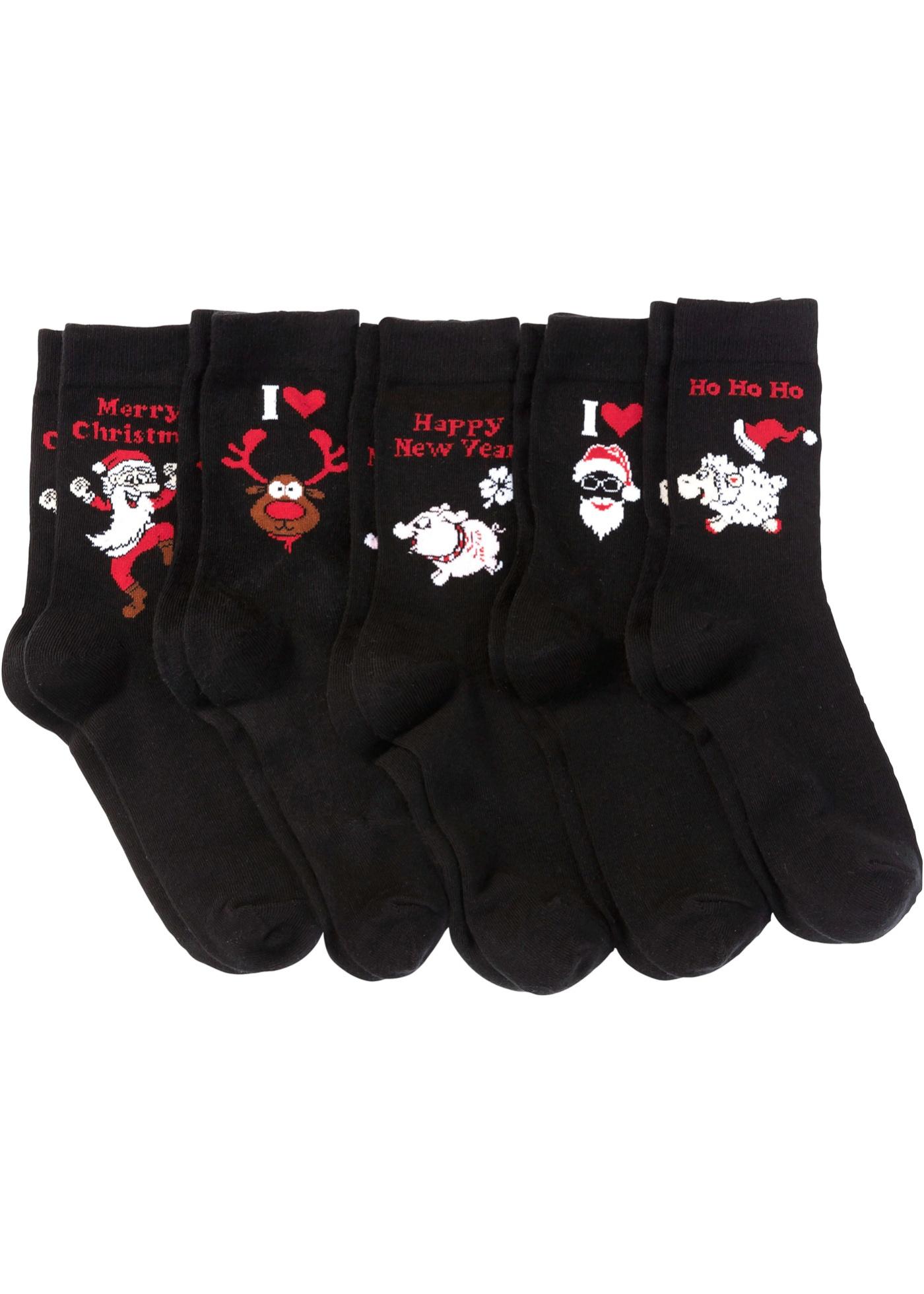 Vánoční ponožky (5 ks) - Černá