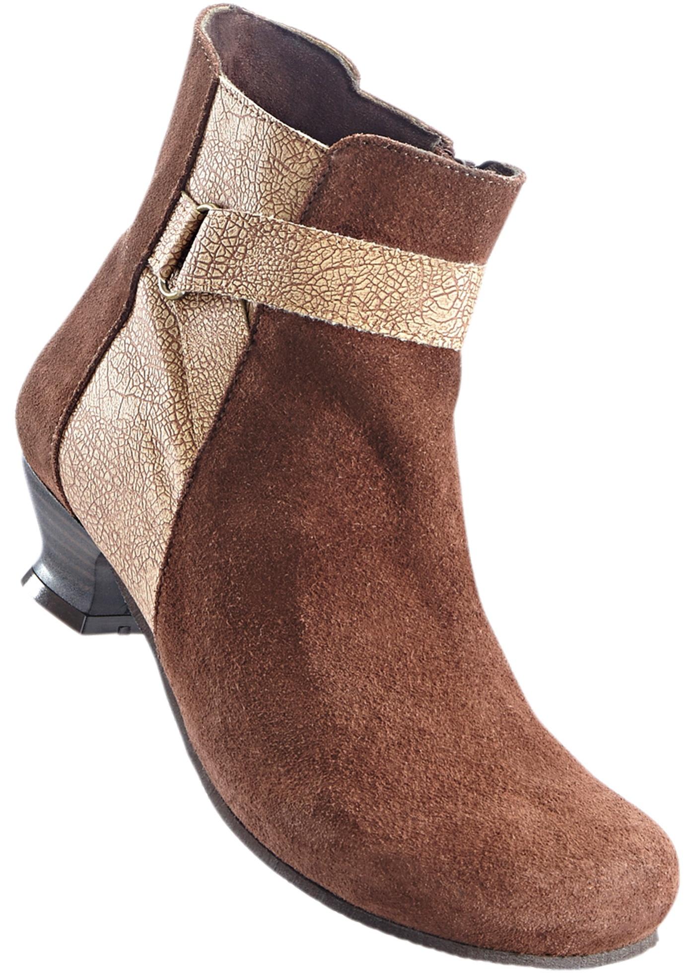 Pohodlná kožená kotníčková obuv - Hnědá