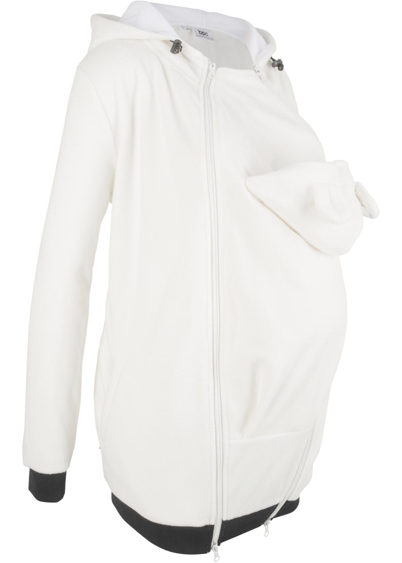 Těhotenská flísová bunda s baby vsadkou, pro těhotenství i po něm - Bílá