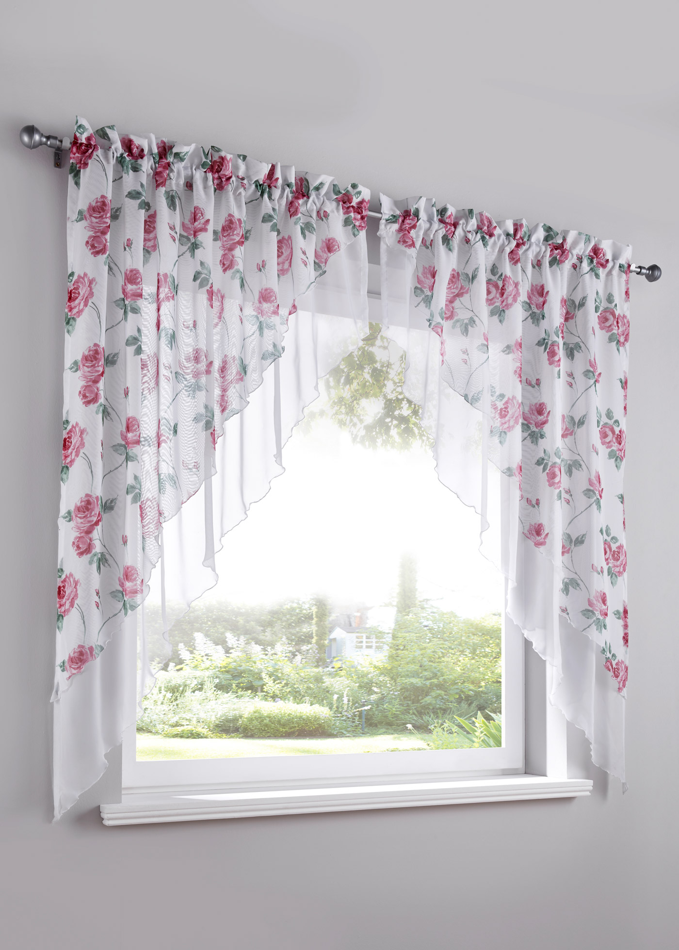 Záclona na malé okno Mona (2 ks) - Růžová