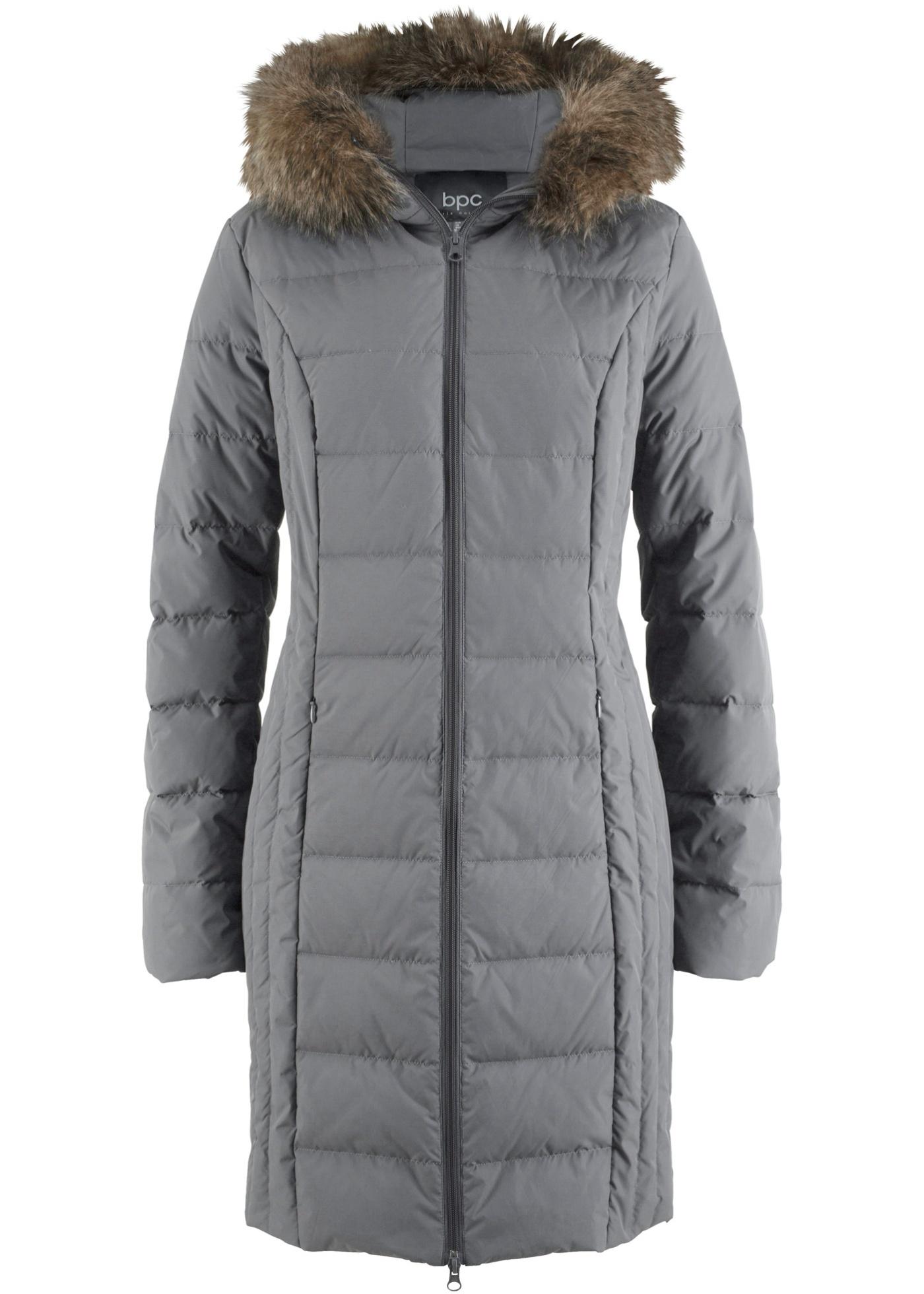Prošívaný péřový kabát - Šedá