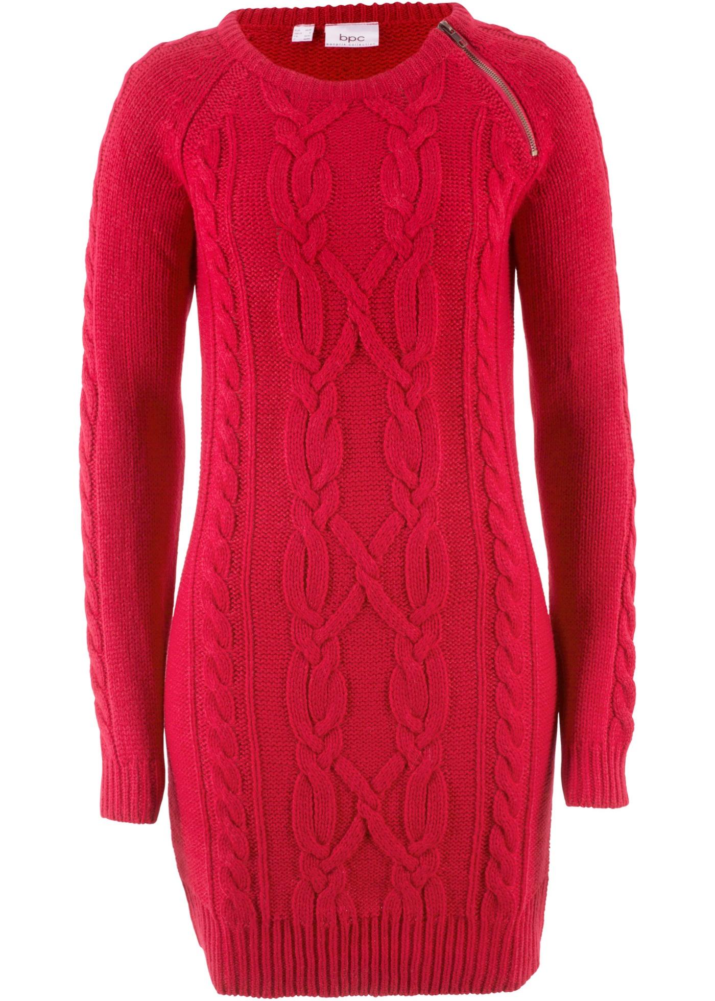 Pletené šaty - Červená
