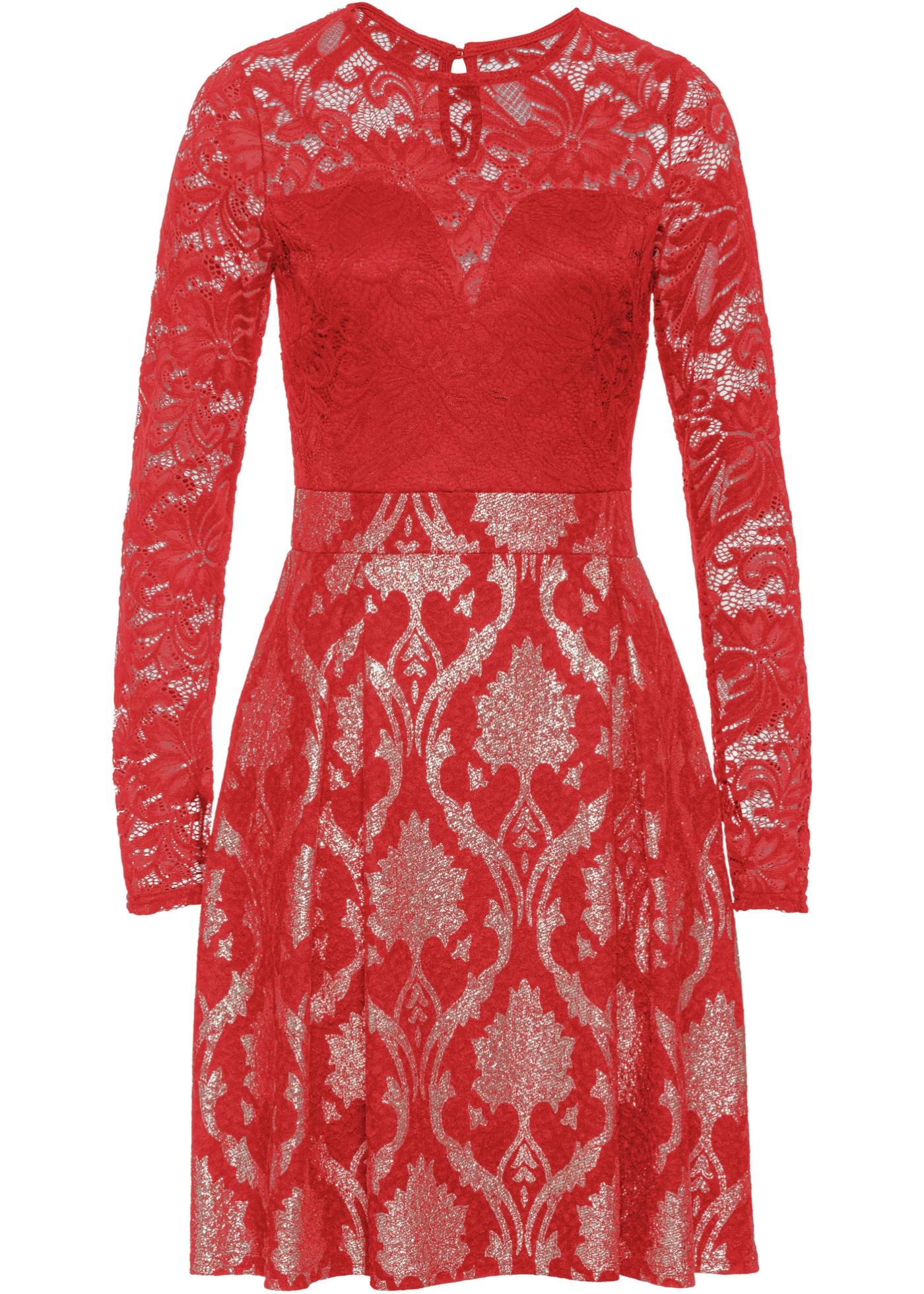 Šaty s krajkou - Červená